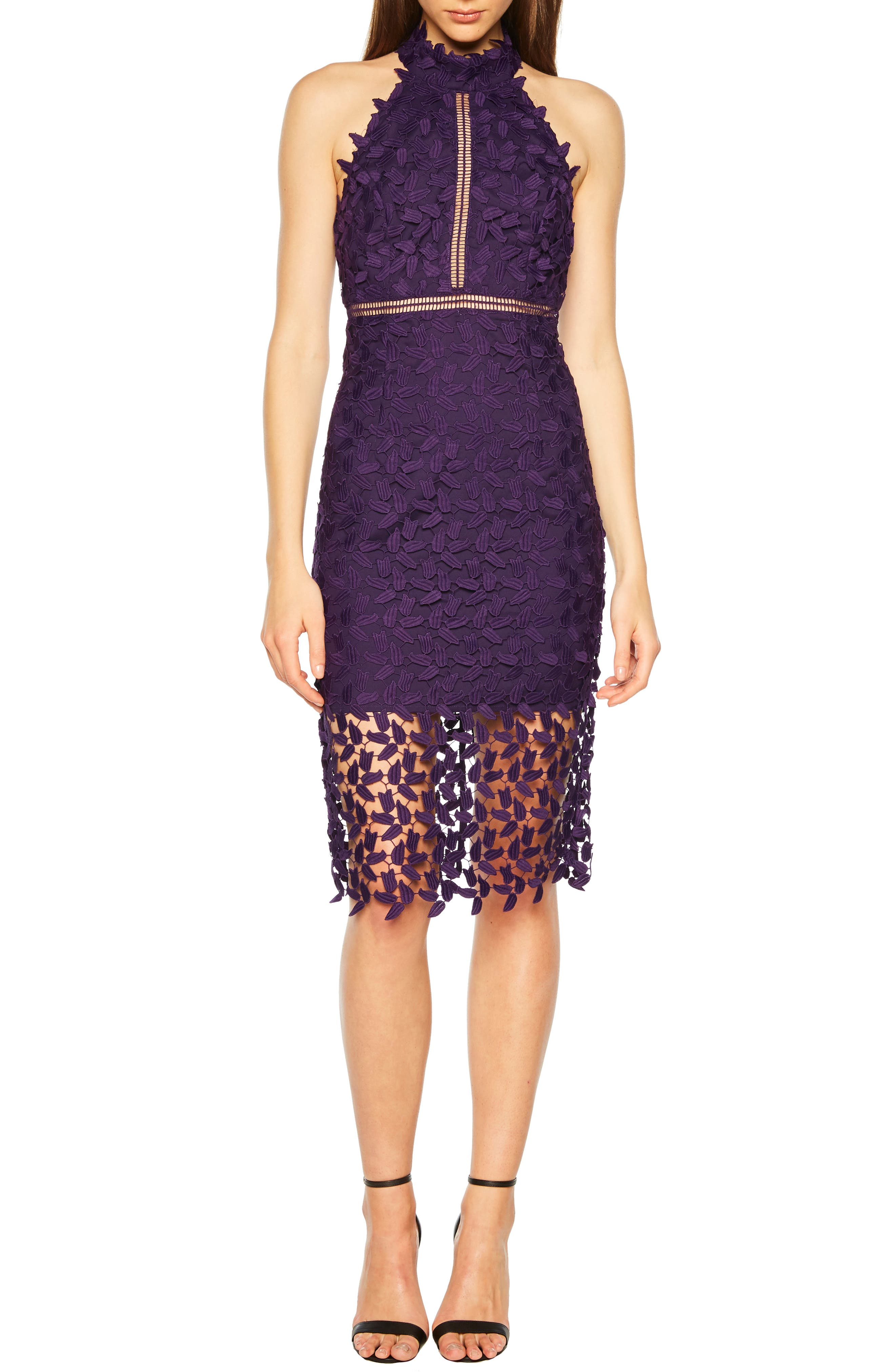 Bardot Gemma Halter Lace Sheath Dress, Purple