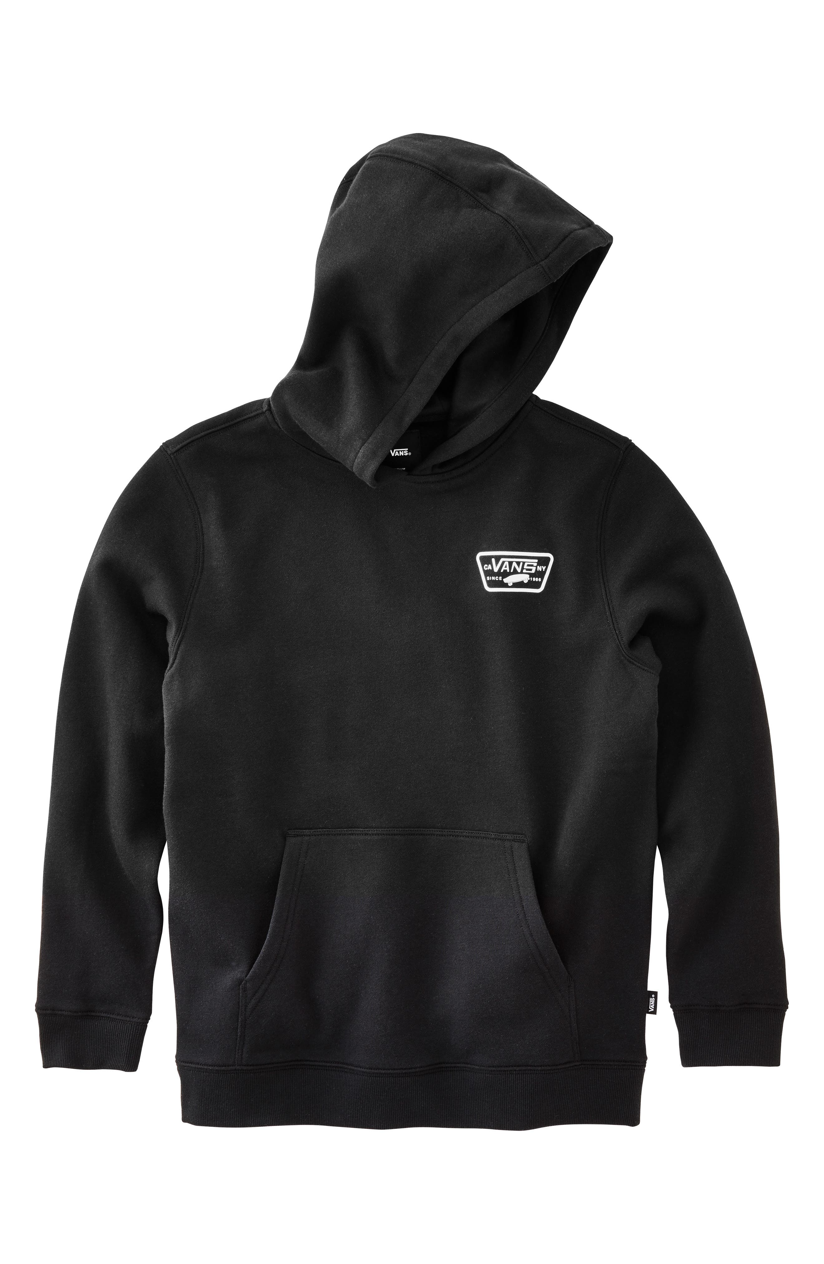 Full Patched Fleece Hoodie,                             Main thumbnail 1, color,                             BLACK