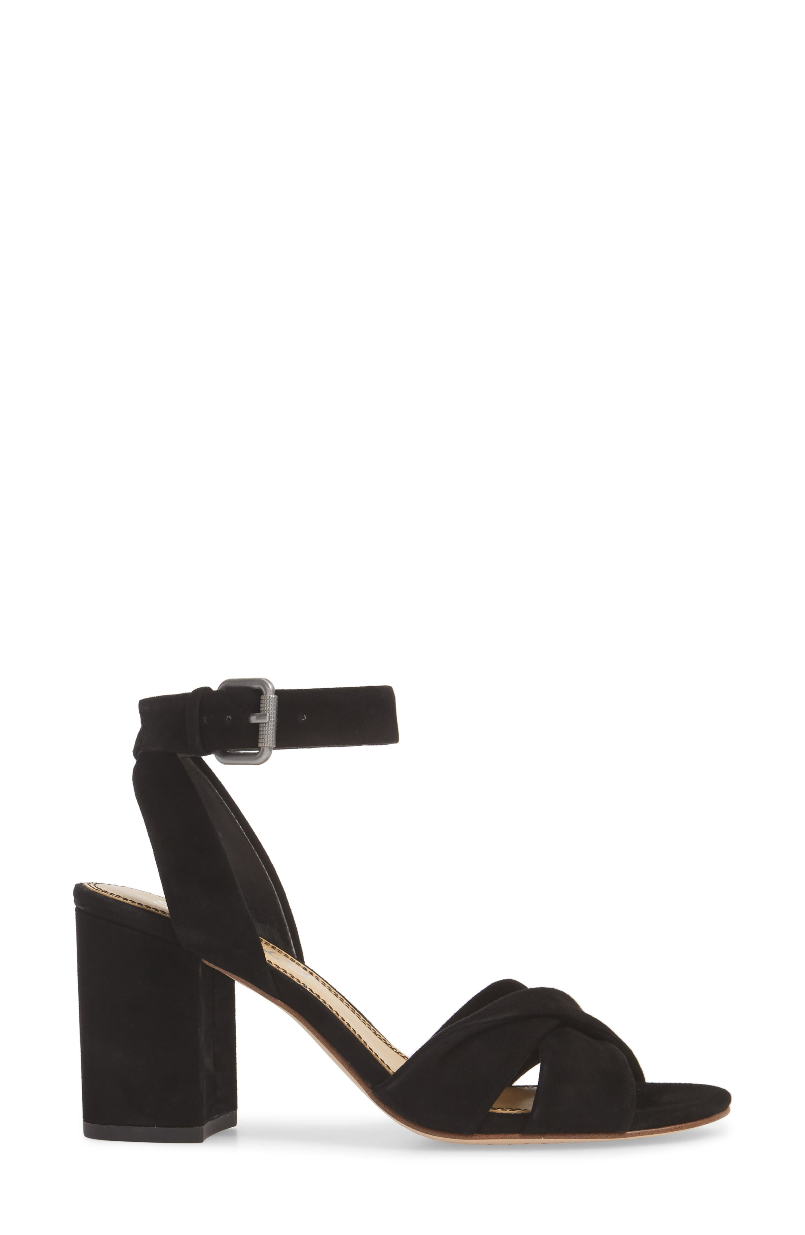 Fairy Block Heel Sandal,                             Alternate thumbnail 3, color,                             BLACK SUEDE
