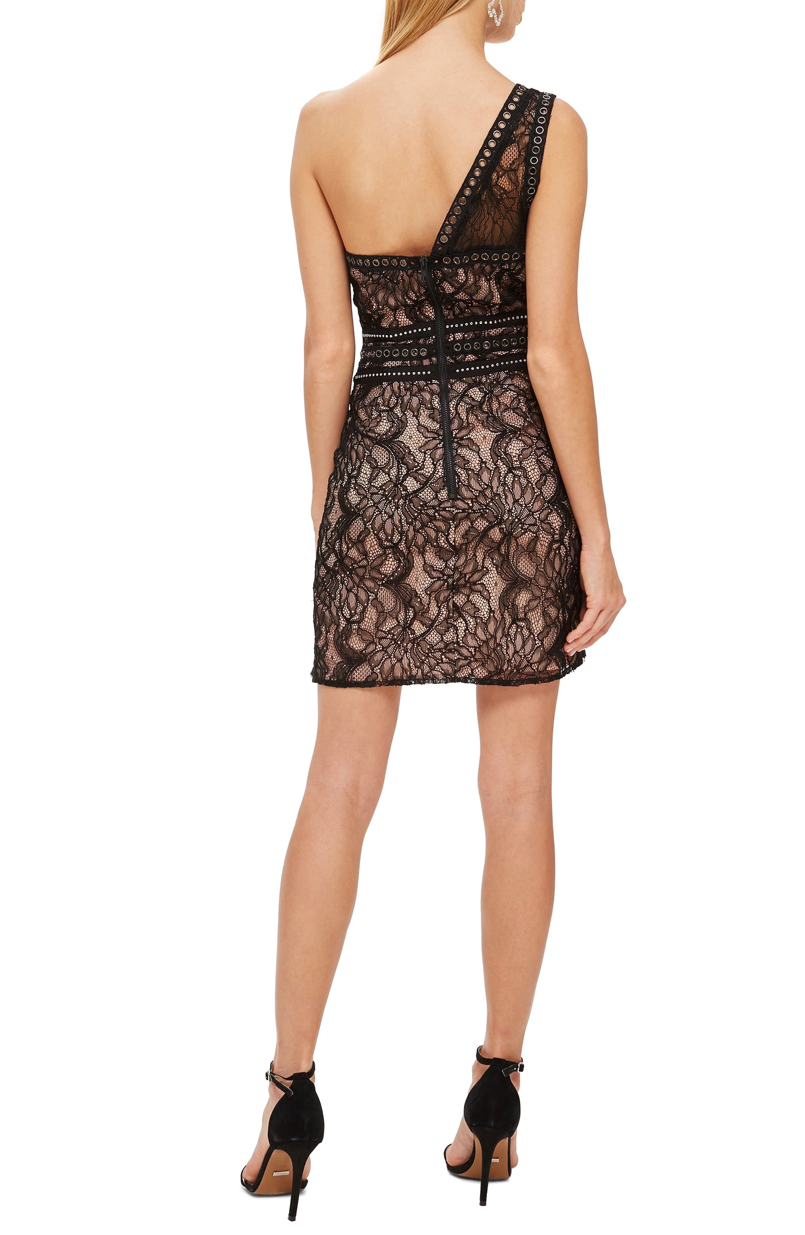 One-Shoulder Lace Body-Con Dress,                             Alternate thumbnail 2, color,                             BLACK MULTI
