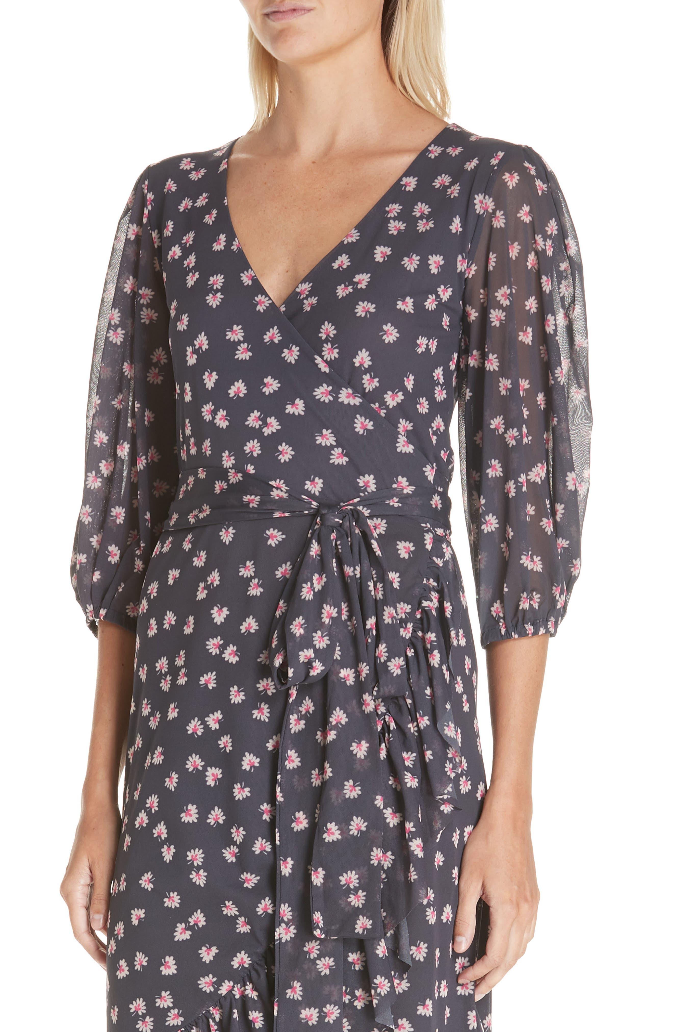 GANNI,                             Floral Print Wrap Dress,                             Alternate thumbnail 4, color,                             400