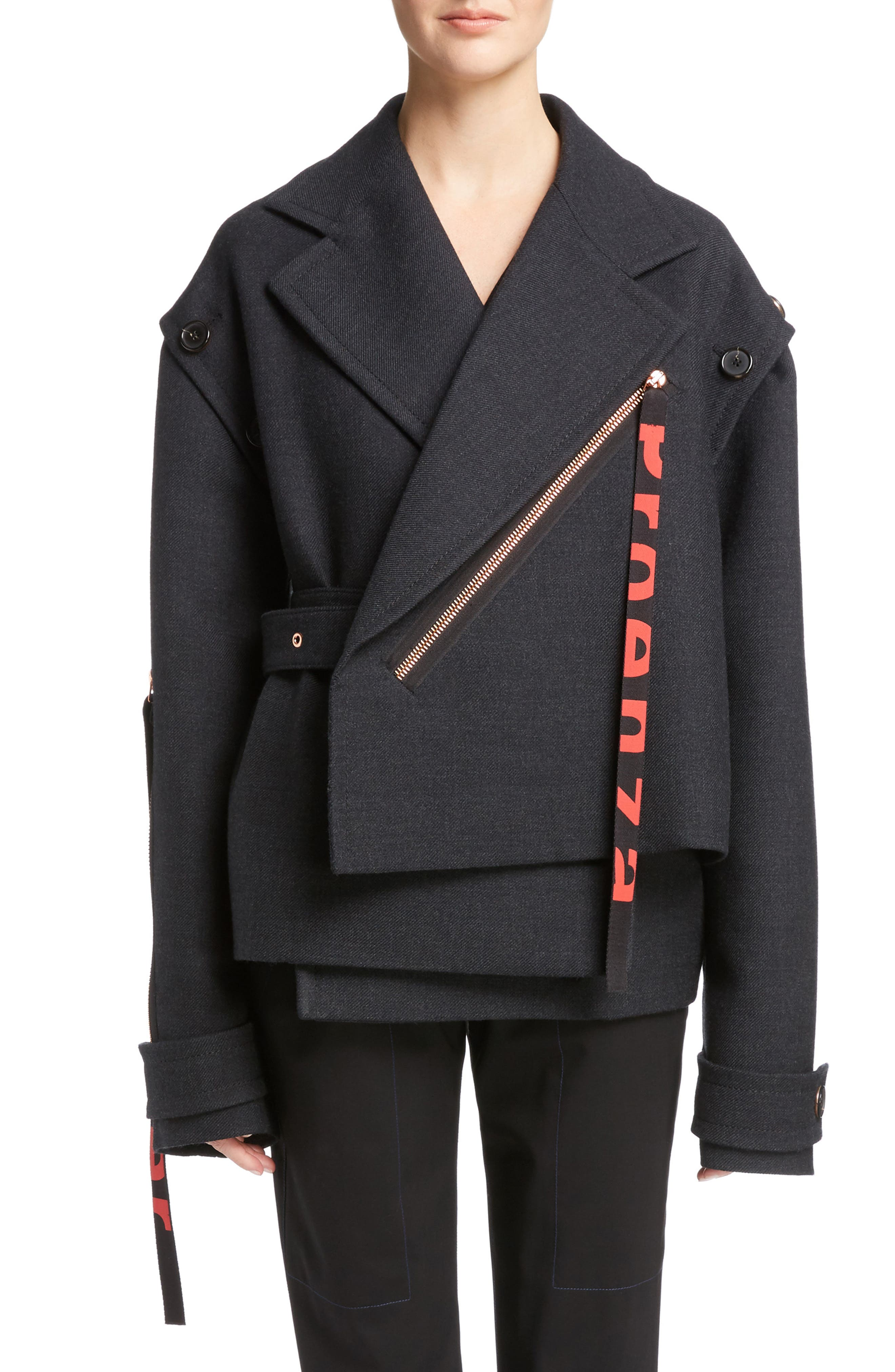 Stretch Wool Asymmetrical Coat,                         Main,                         color, 042