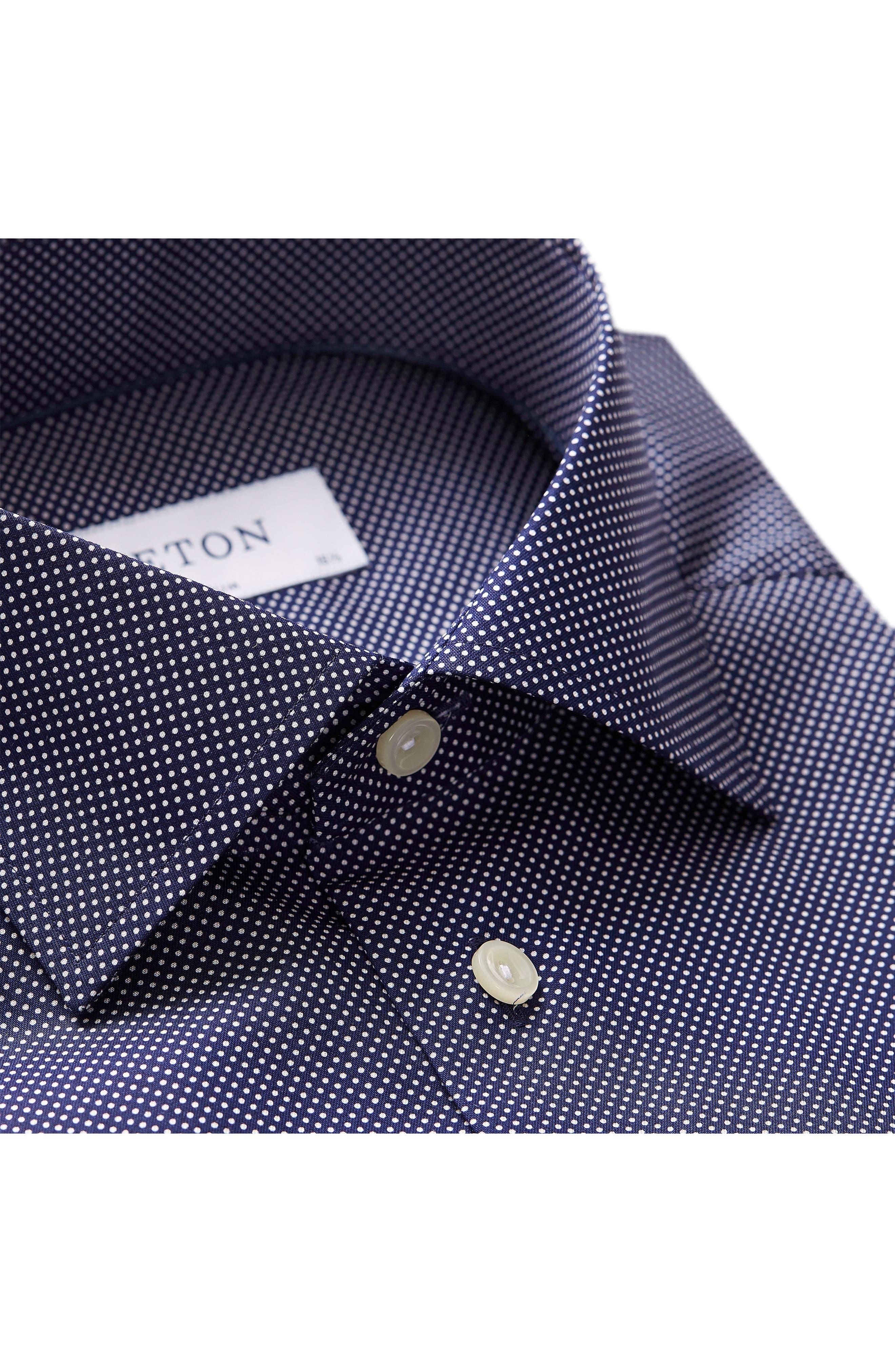 Slim Fit Dot Dress Shirt,                             Alternate thumbnail 3, color,                             BLUE