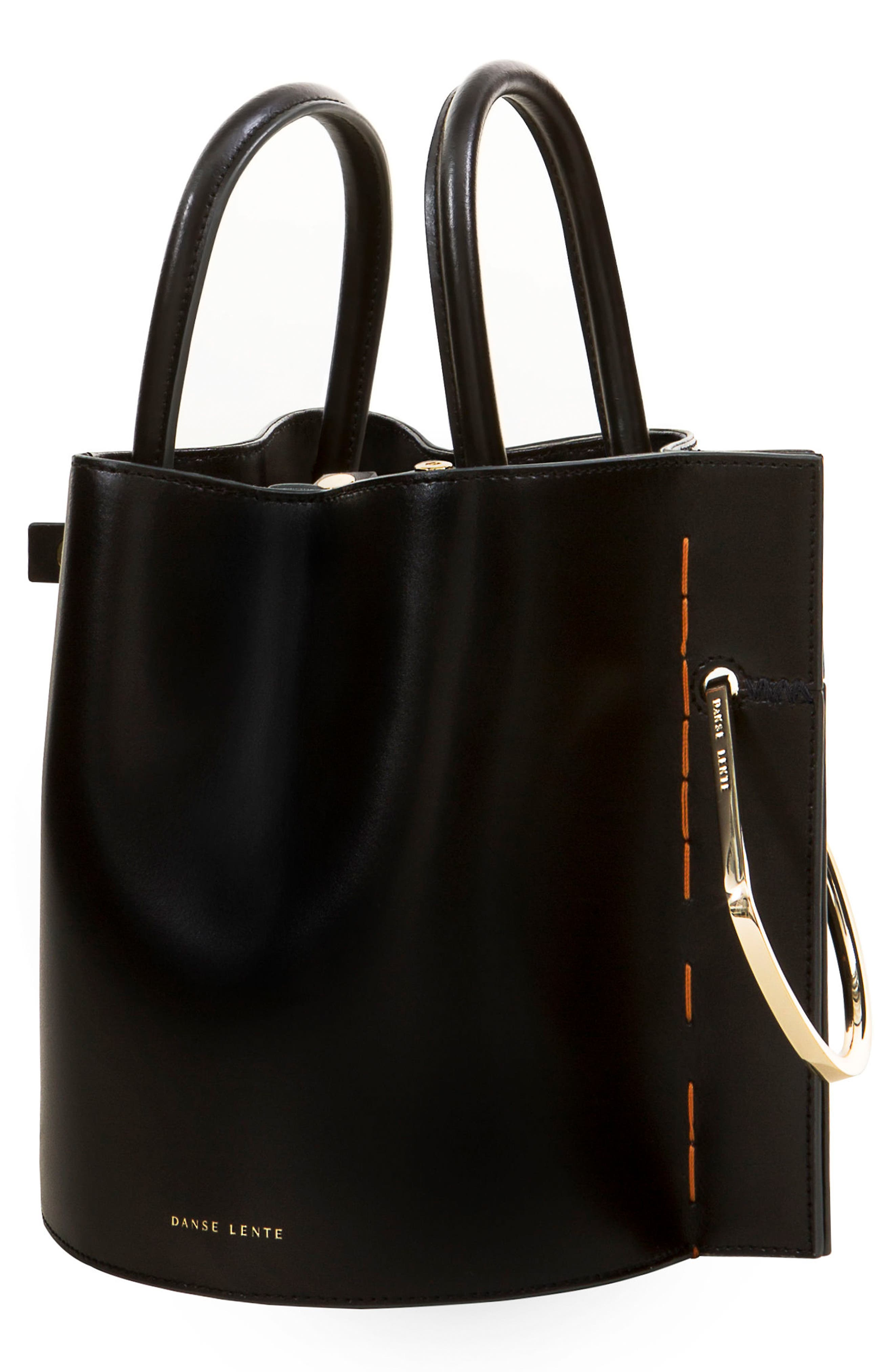 Bobbi Leather Tote,                             Alternate thumbnail 5, color,                             BLACK