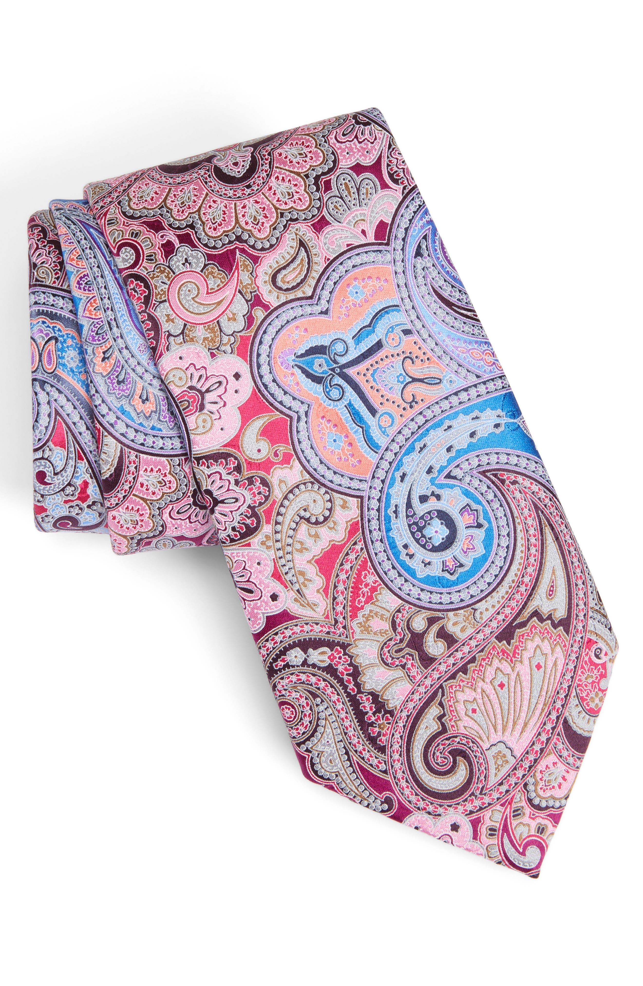 Quindici Paisley Silk Tie,                             Main thumbnail 1, color,                             668