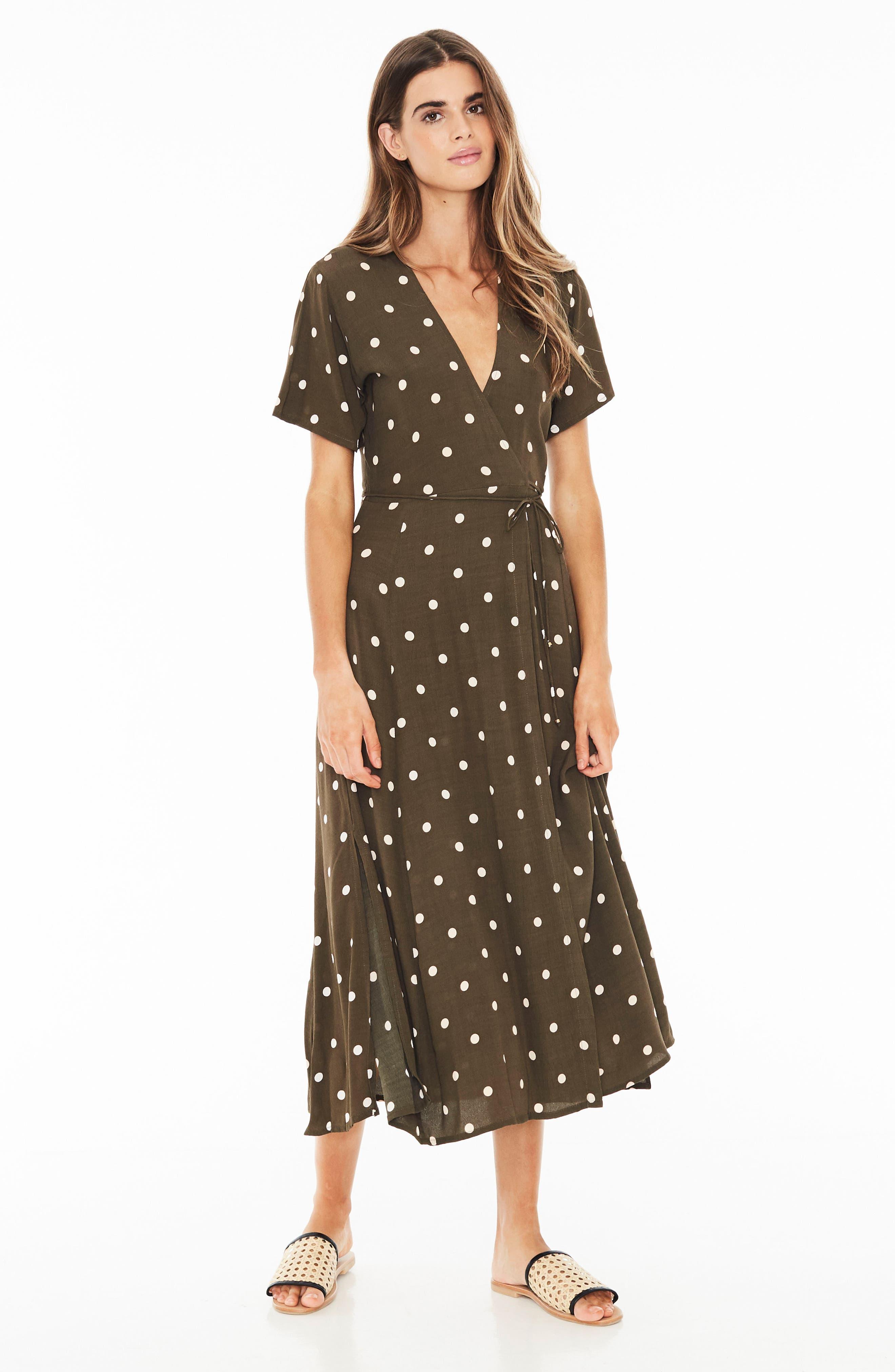 Leila Polka Dot Wrap Dress,                             Alternate thumbnail 4, color,