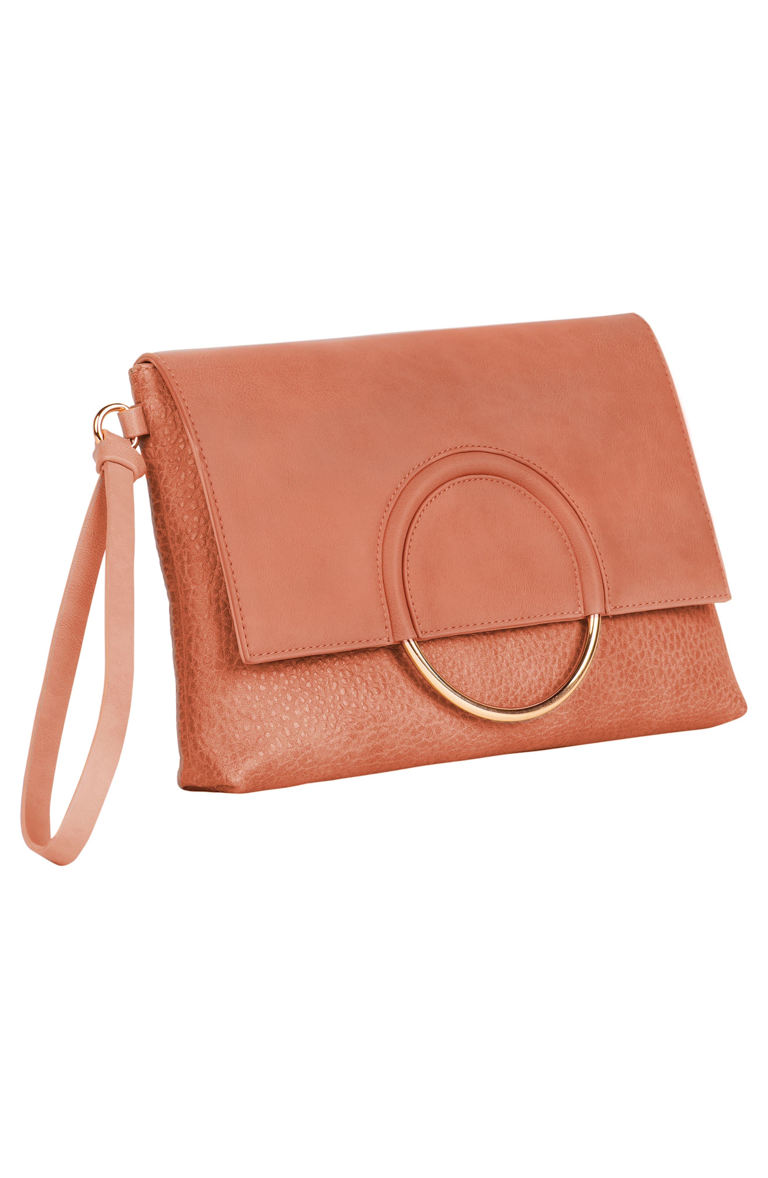 Custom Vegan Leather Wristlet Clutch,                             Alternate thumbnail 3, color,                             ROSE PINK