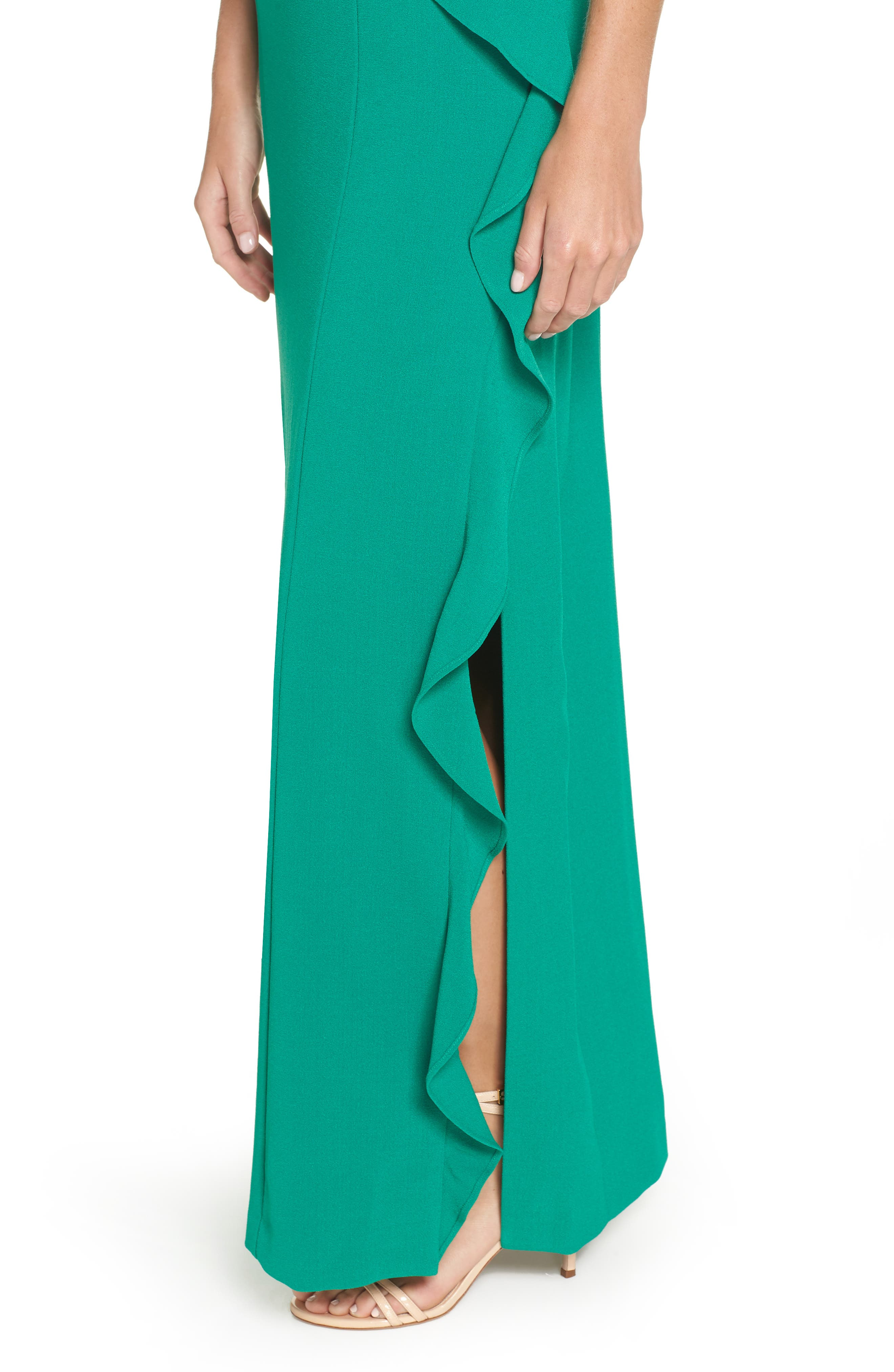 One-Shoulder Gown,                             Alternate thumbnail 4, color,                             GREEN