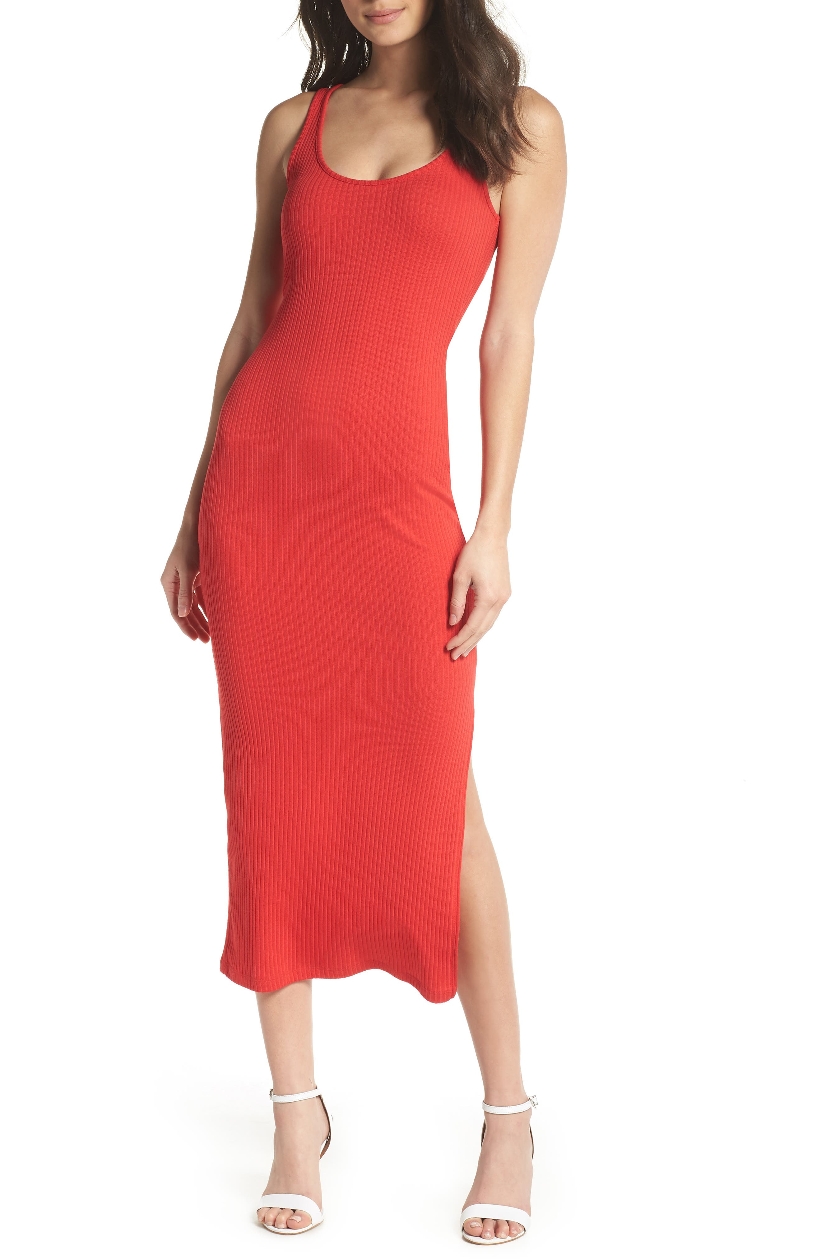 Tommy Rib Knit Tank Dress,                         Main,                         color, SHANGHAI RED