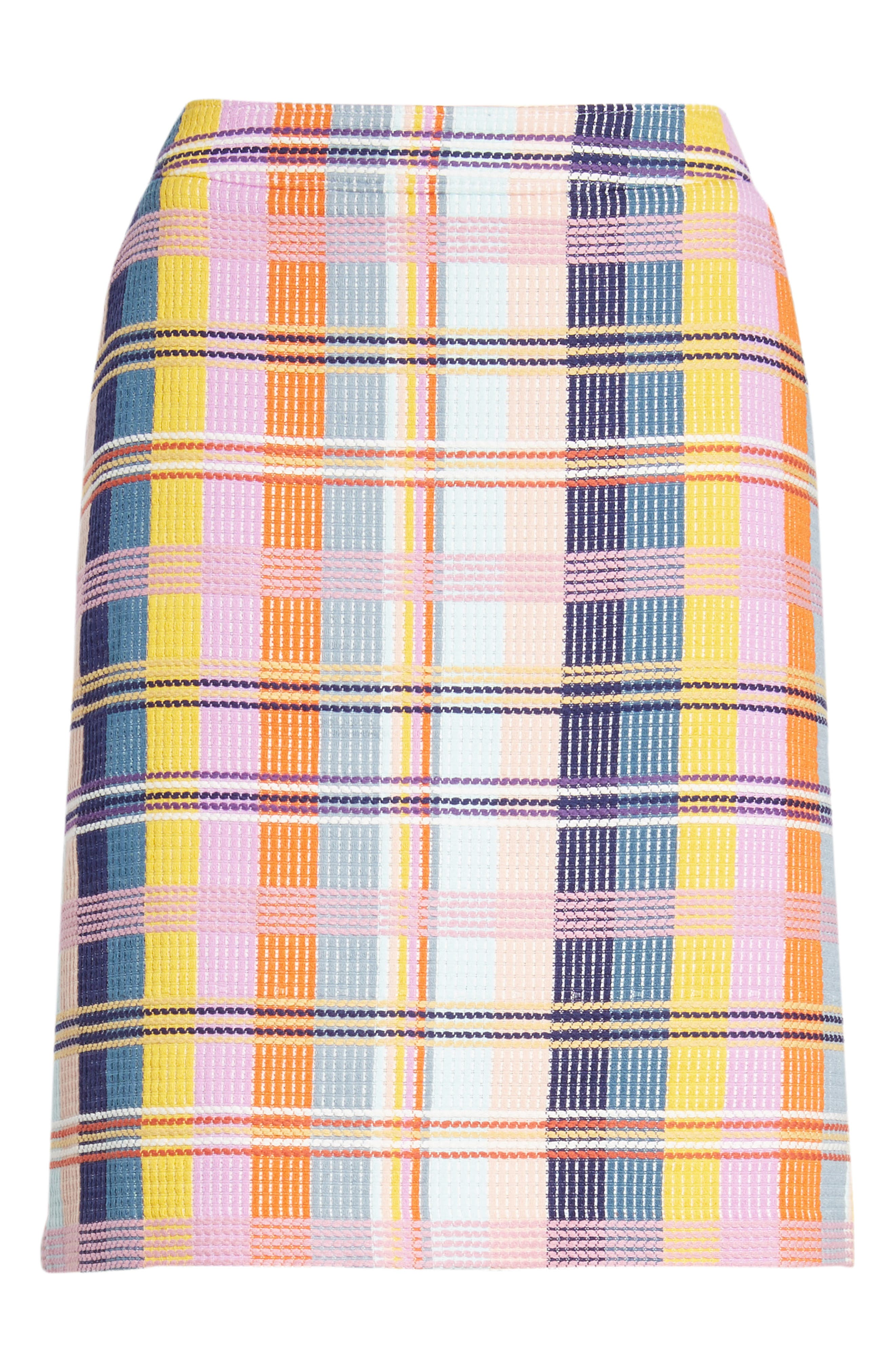 Plaid Tweed Pencil Skirt,                             Alternate thumbnail 6, color,                             BLUE MULTI TWEED