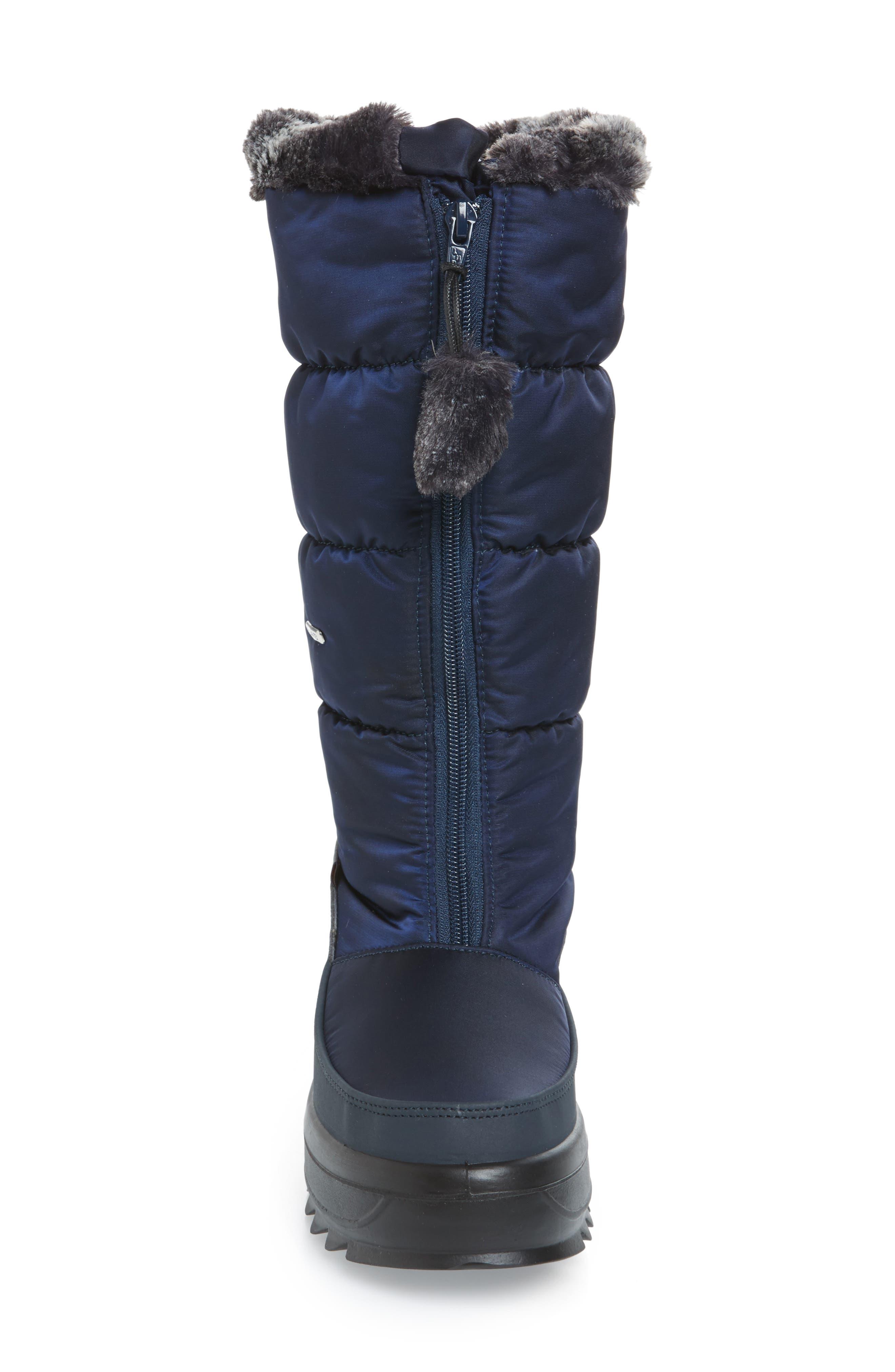 Toboggan 2 Faux Fur Trim Insulated Waterproof Boot,                             Alternate thumbnail 4, color,                             NAVY FABRIC