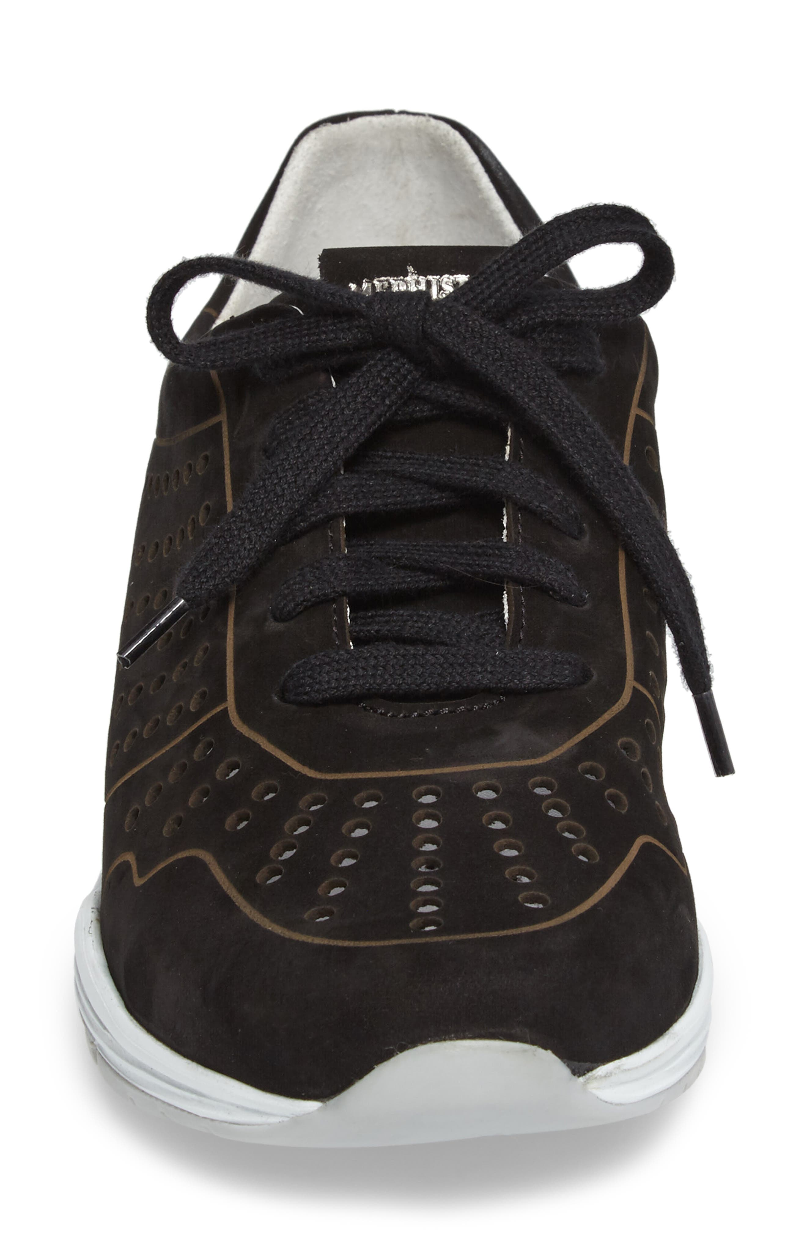 Yliane Sneaker,                             Alternate thumbnail 4, color,                             BLACK NUBUCK LEATHER
