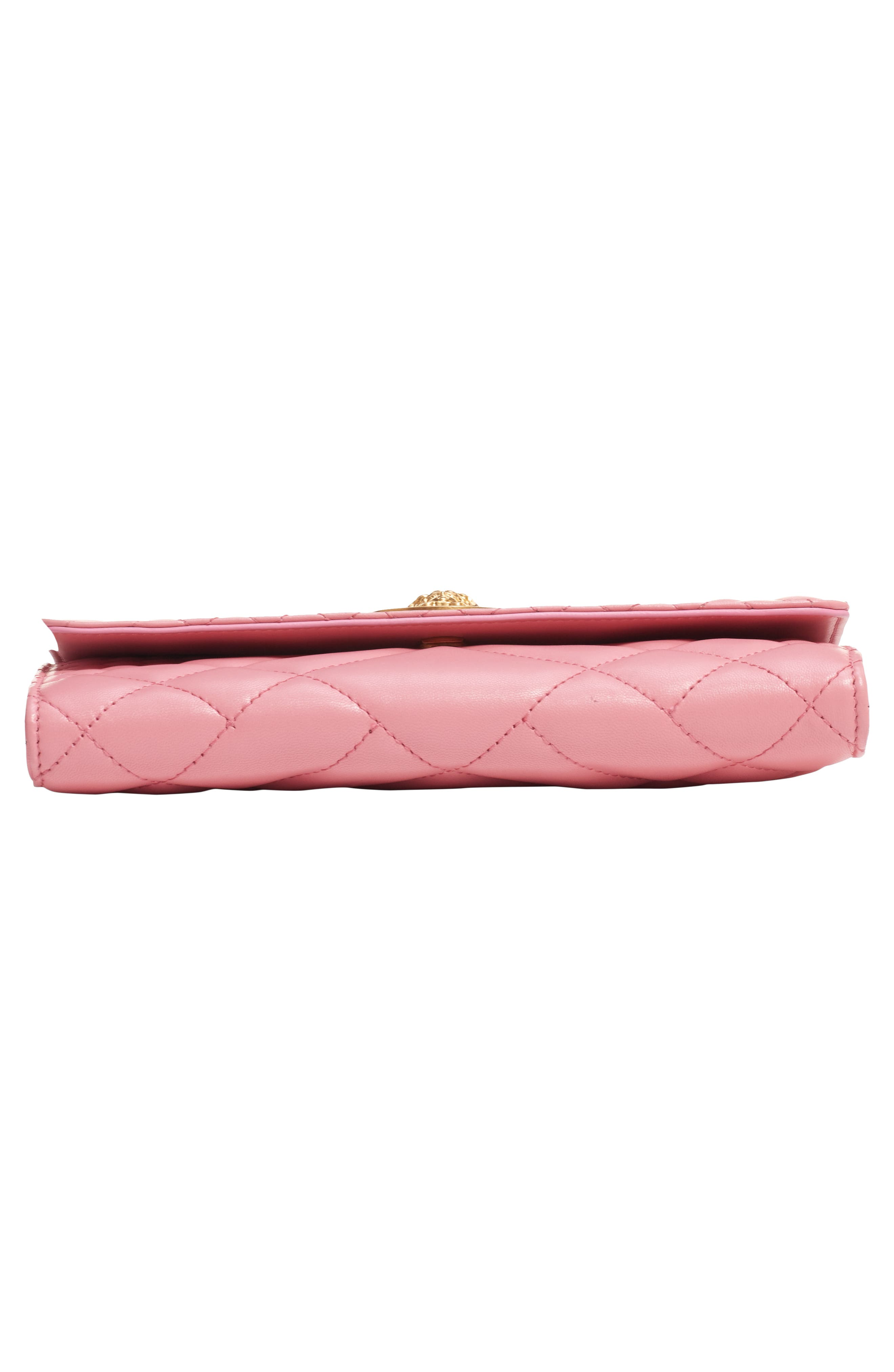 Quilted Leather Wallet on a Chain,                             Alternate thumbnail 6, color,                             SHELL PINK/ TRIBUTE GOLD