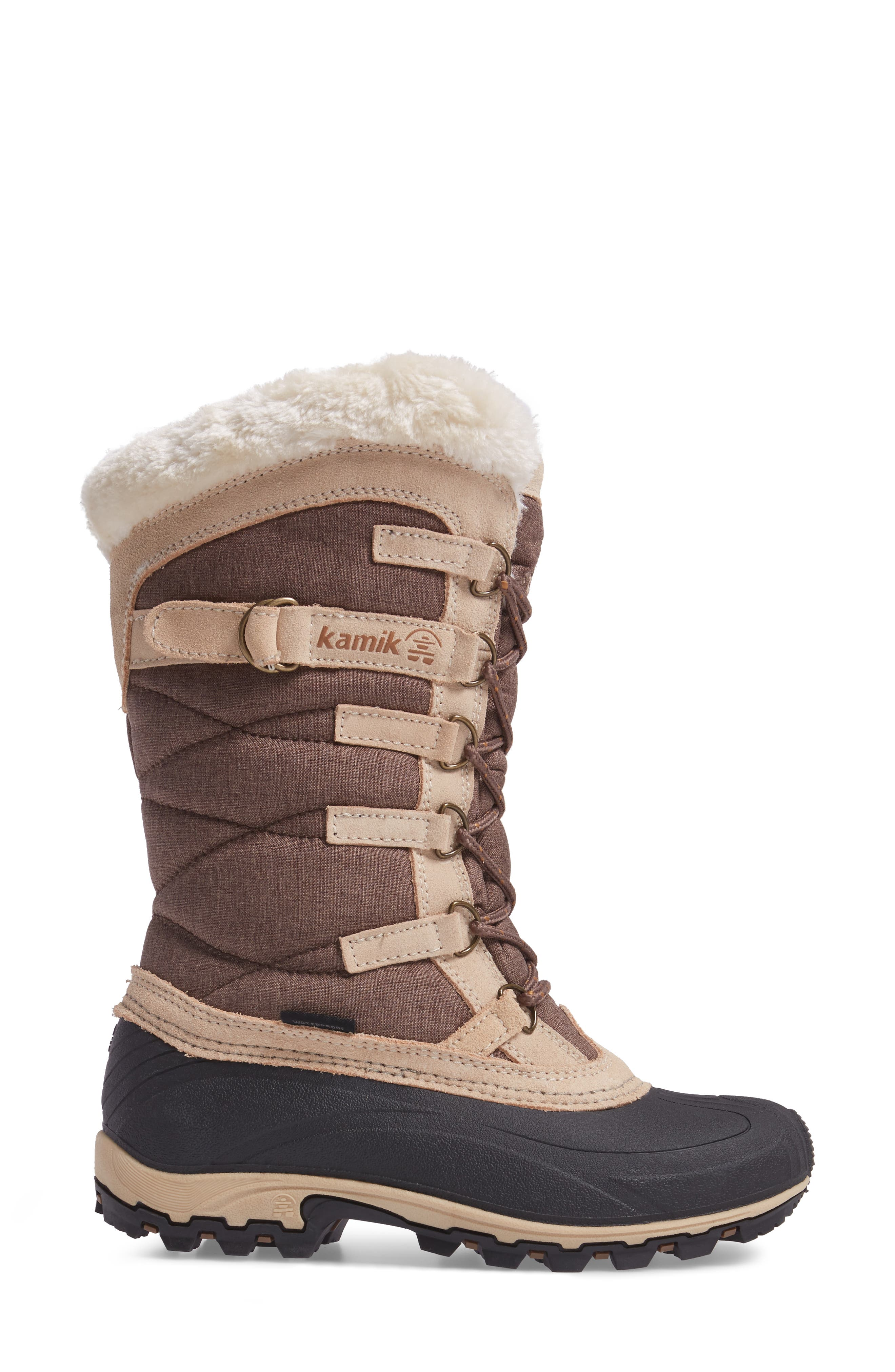 Snowvalley Waterproof Boot with Faux Fur Cuff,                             Alternate thumbnail 3, color,                             BROWN FABRIC
