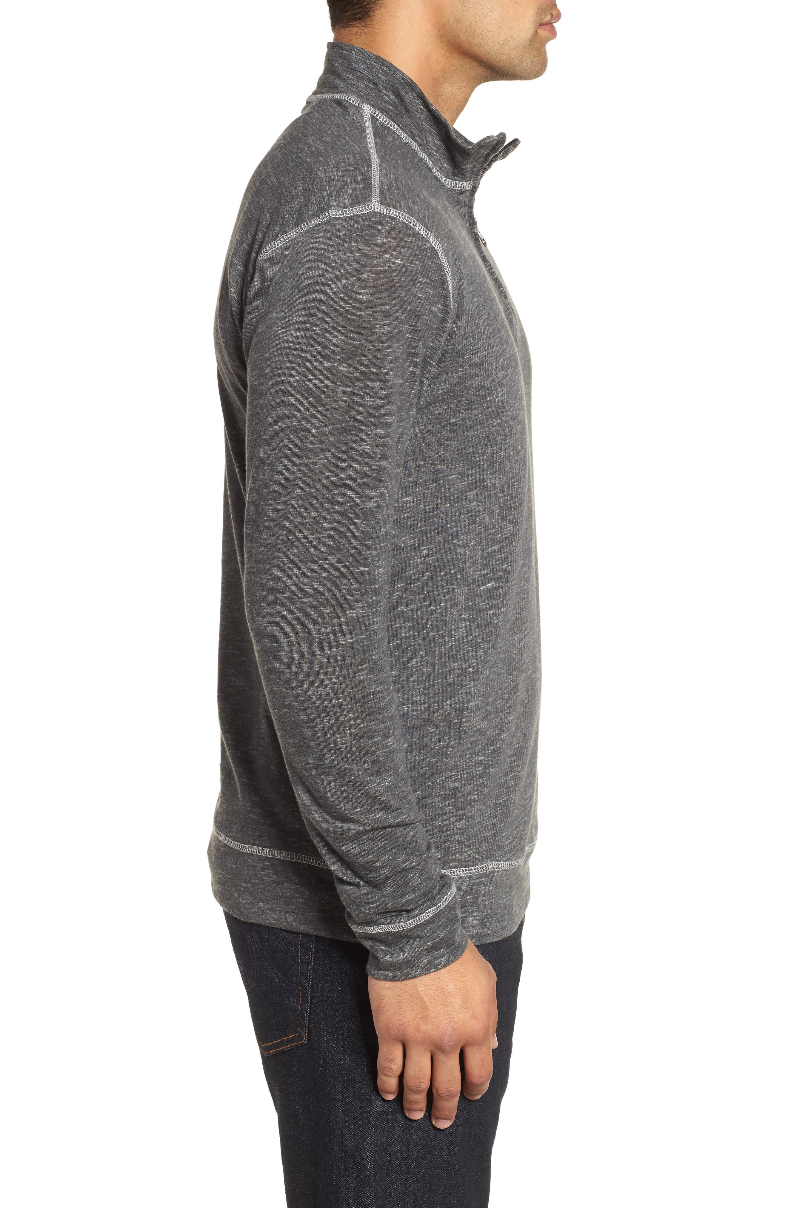 Space Dyed Quarter-Zip Shirt,                             Alternate thumbnail 3, color,                             CHARCOAL