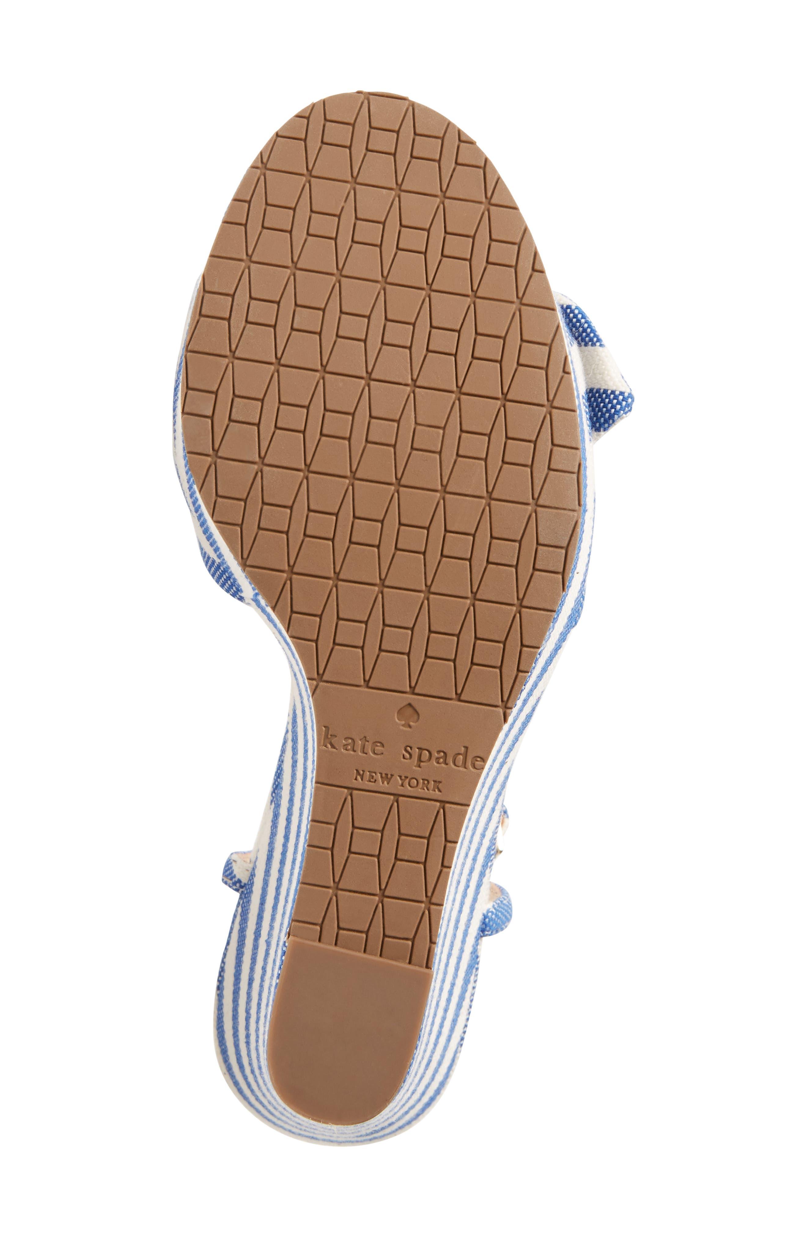 janae knot platform wedge sandal,                             Alternate thumbnail 6, color,                             BLUE/CREAM STRIPE