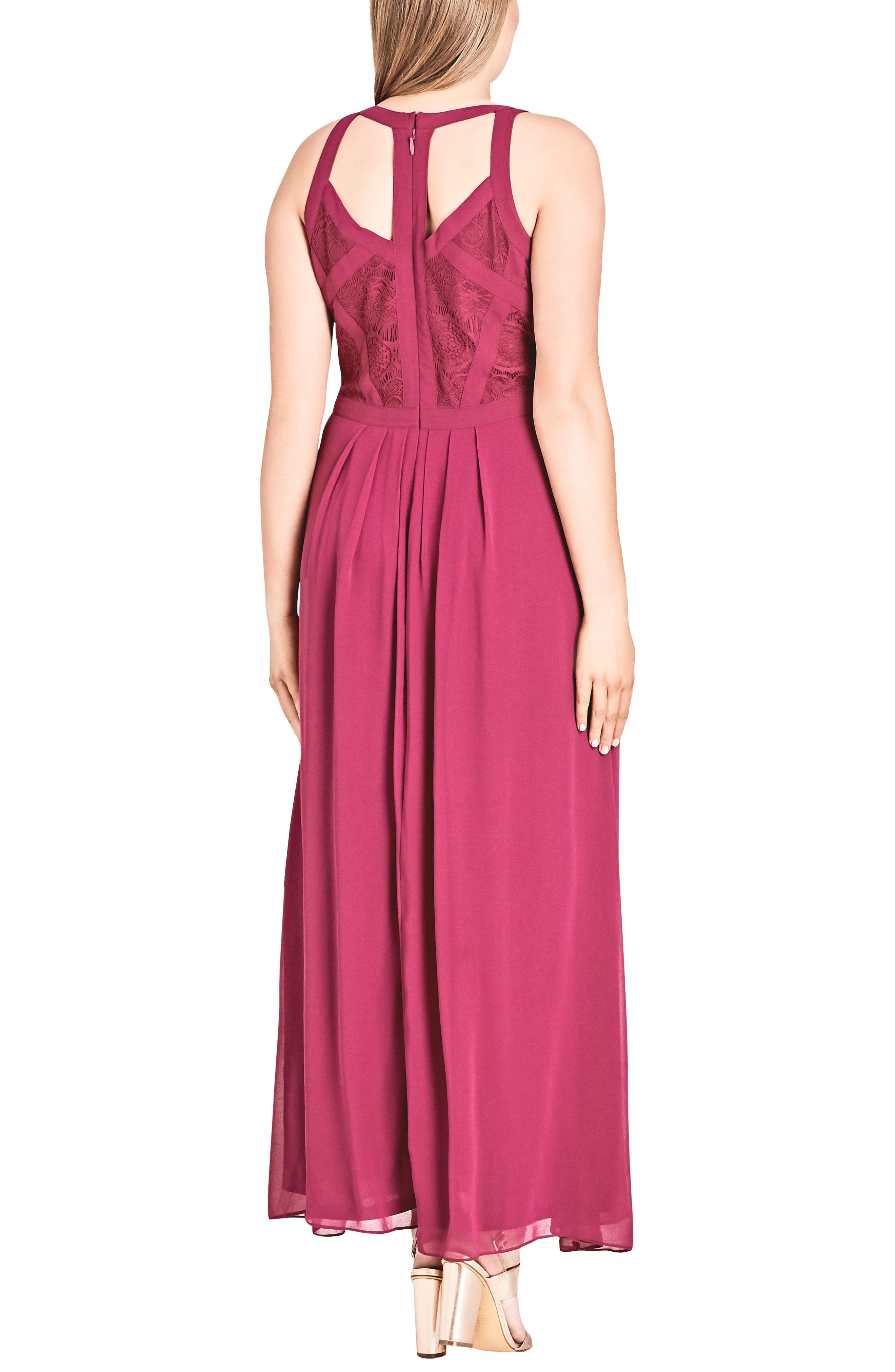 Paneled Lace Bodice Gown,                             Alternate thumbnail 13, color,