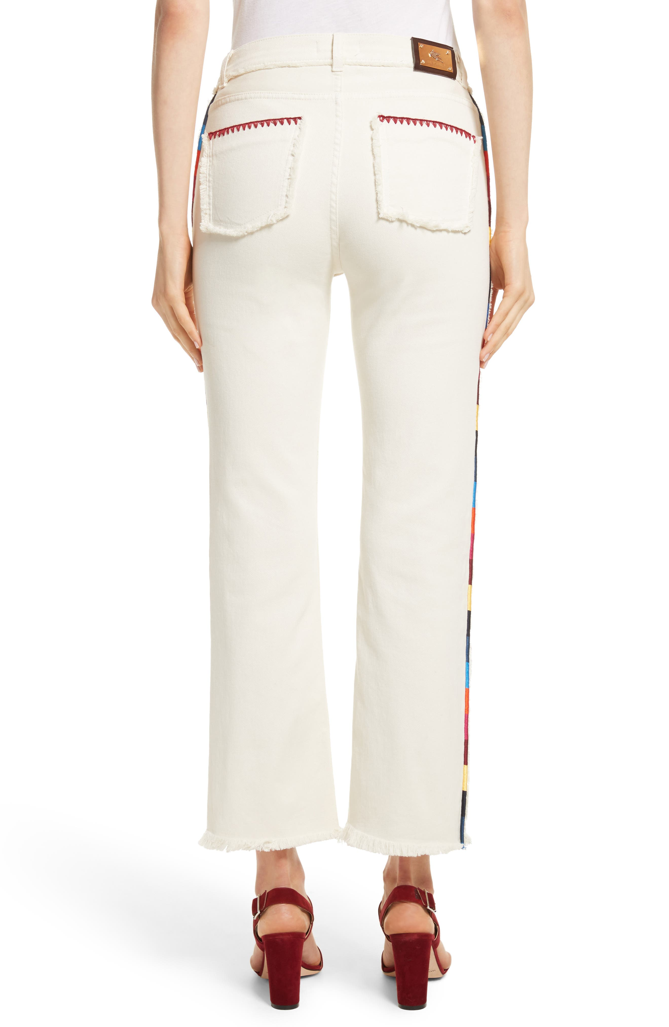 Embroidered Piping Crop Jeans,                             Alternate thumbnail 2, color,                             100