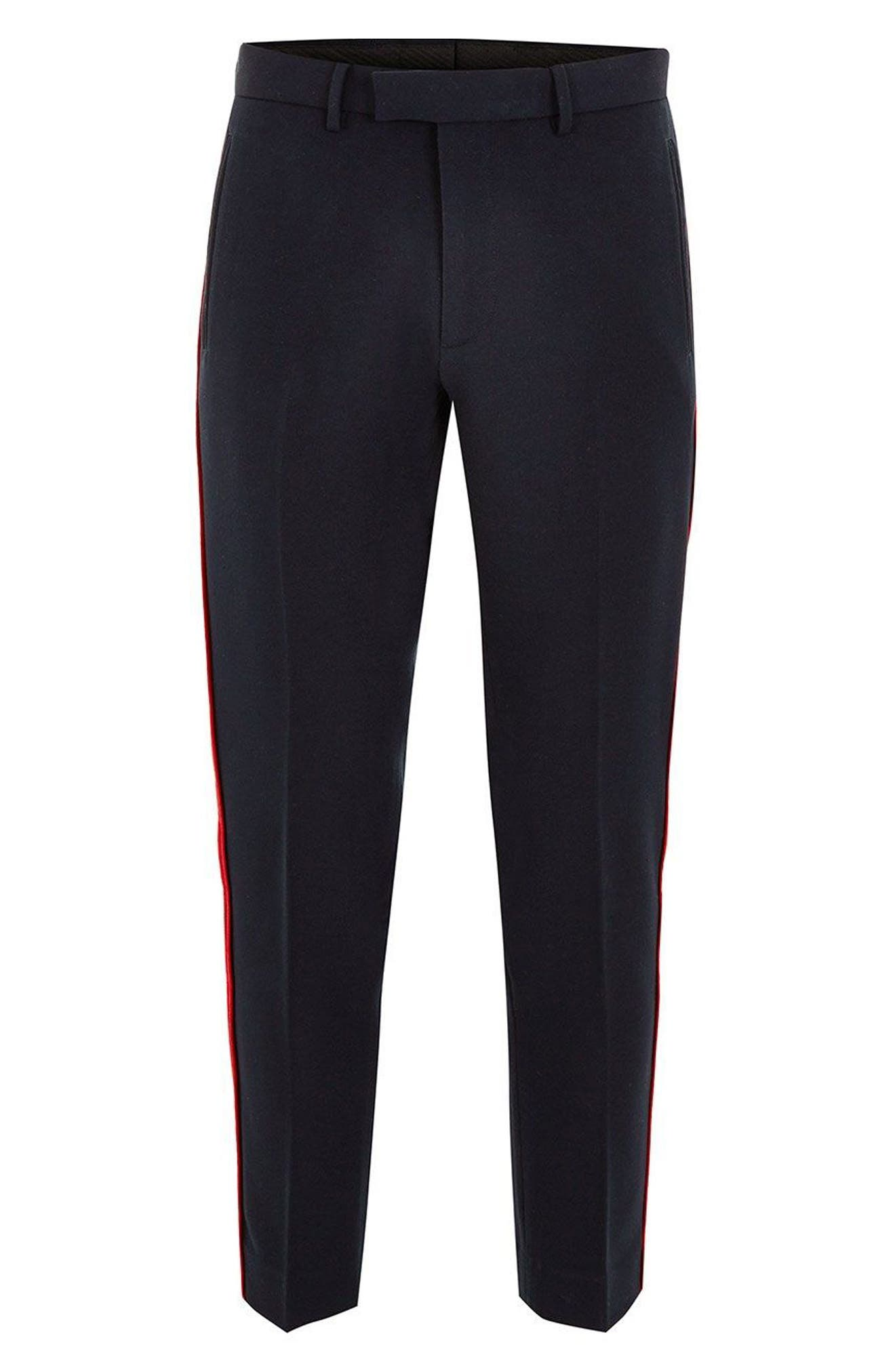 Side Stripe Skinny Fit Trousers,                             Alternate thumbnail 4, color,                             NAVY BLUE