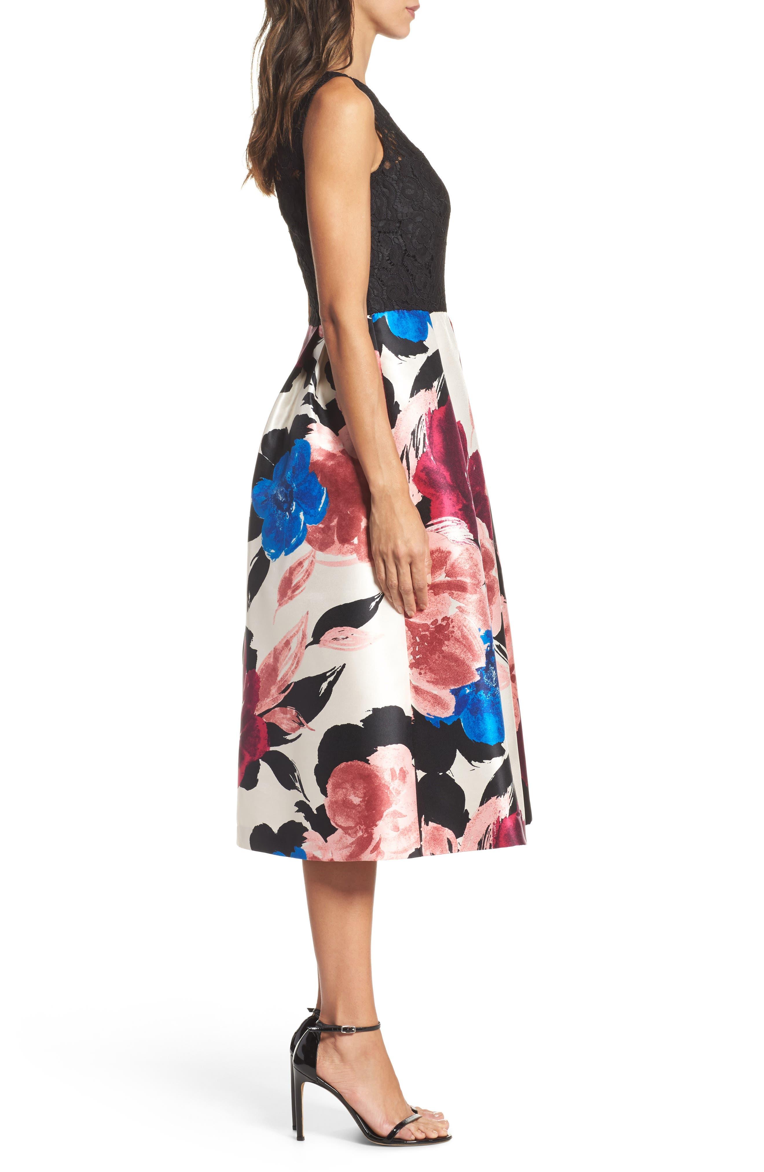 Lace Bodice Midi Dress,                             Alternate thumbnail 3, color,                             006