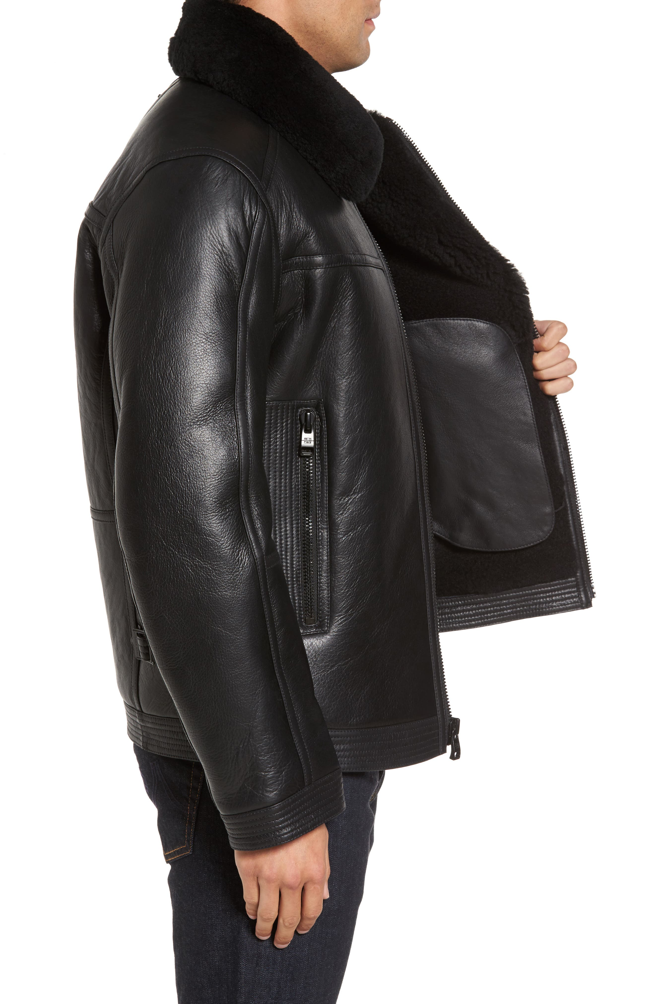 Leather Jacket with Genuine Shearling Collar,                             Alternate thumbnail 3, color,                             001