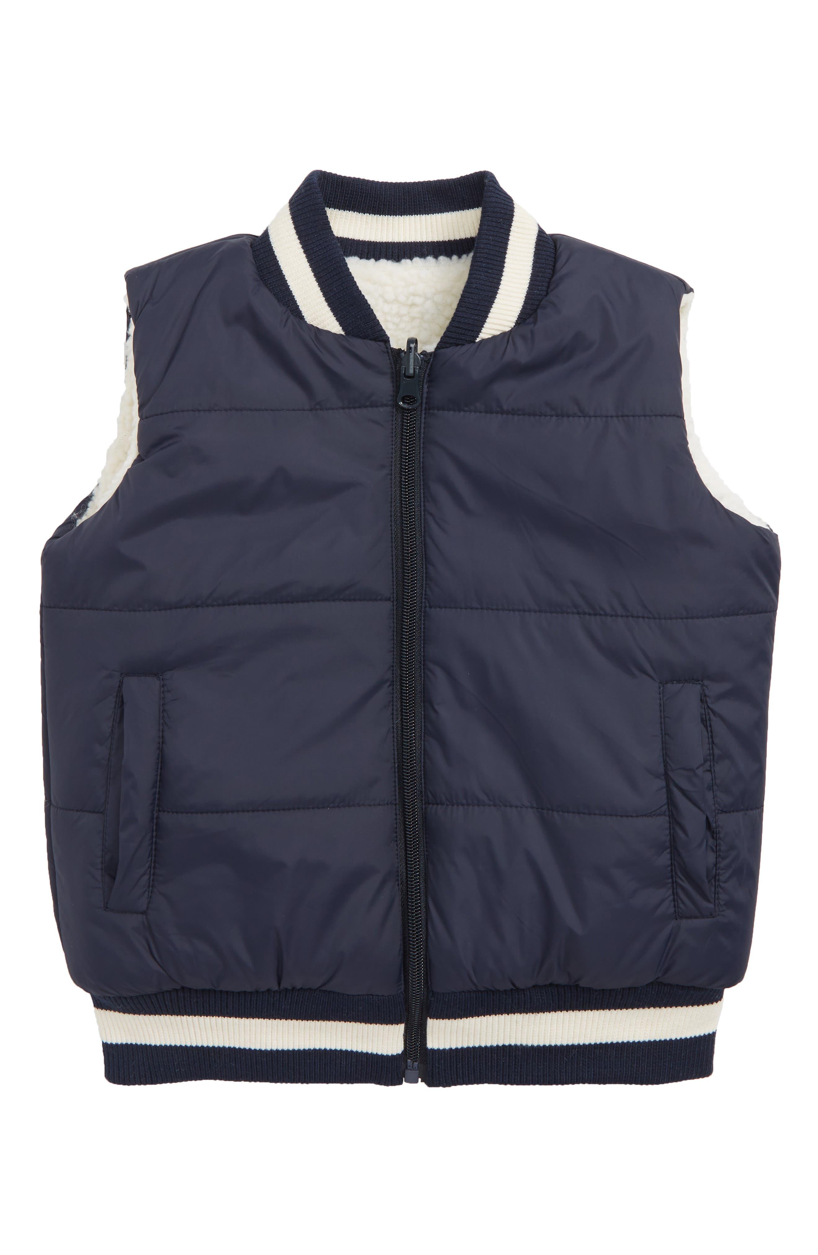 Reversible Puffer Vest,                         Main,                         color, NAVY