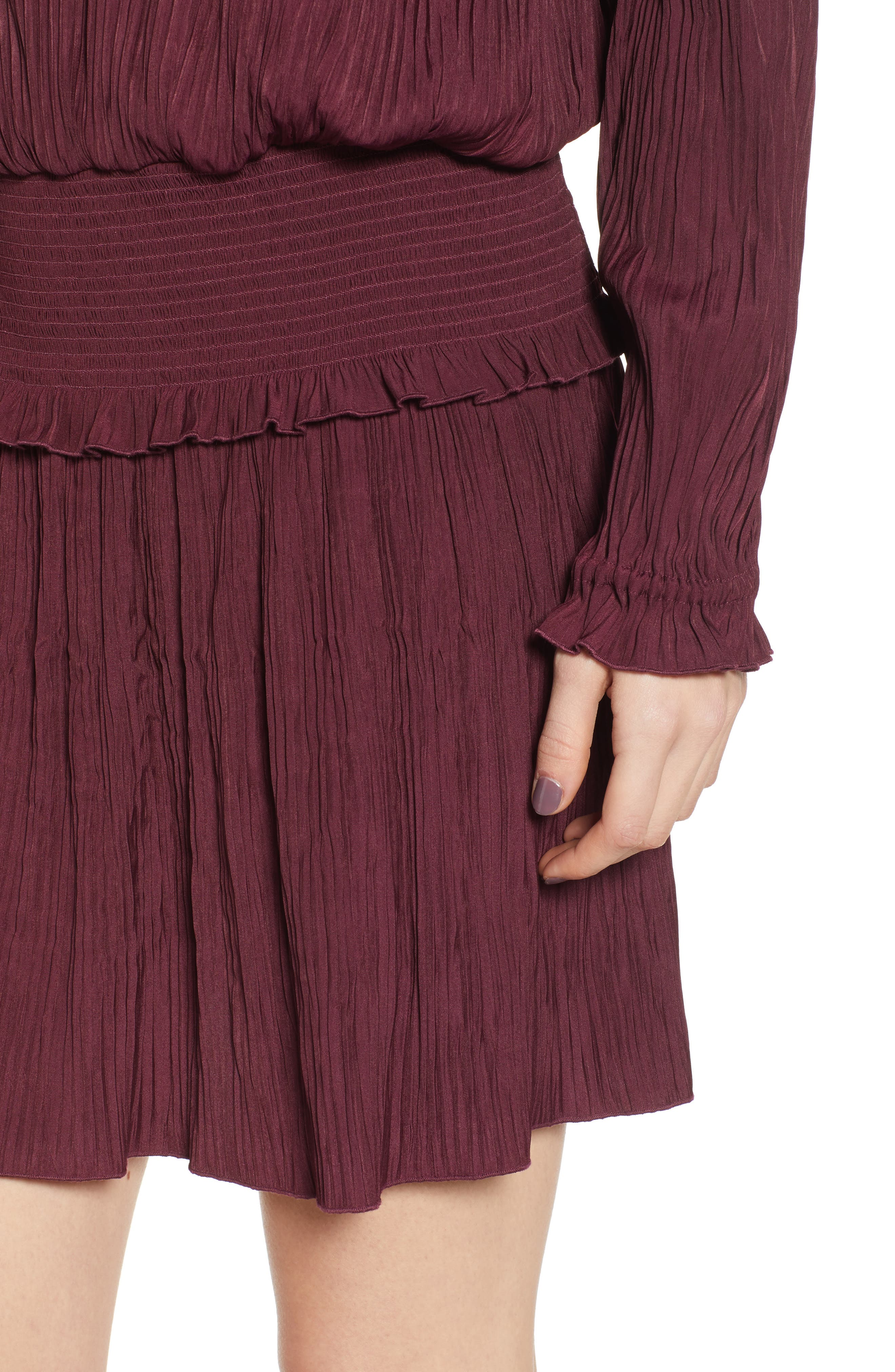 CHELSEA28, Smock Waist Crinkle Dress, Alternate thumbnail 5, color, BURGUNDY STEM