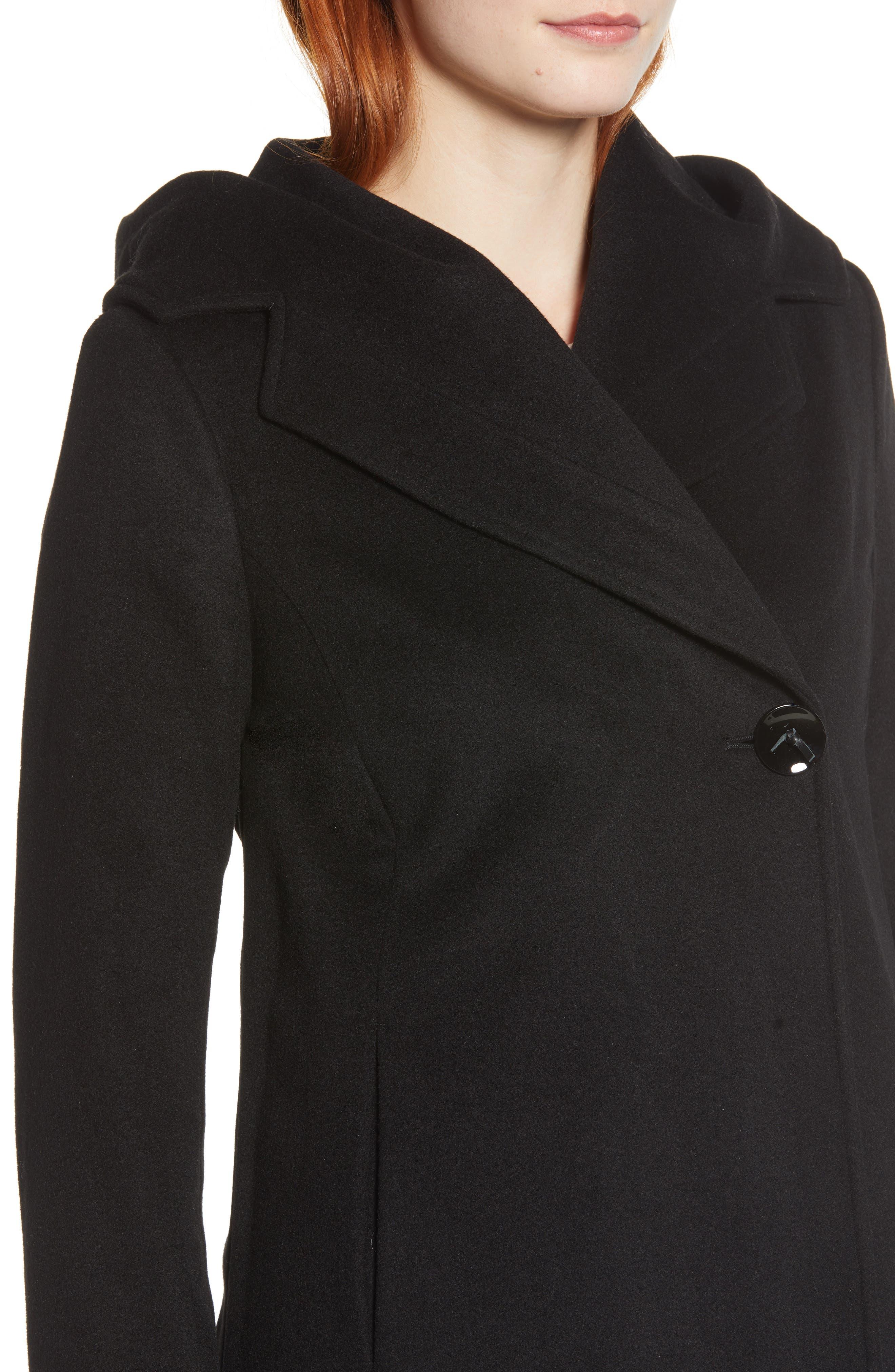 Shawl Collar Hooded Coat,                             Alternate thumbnail 4, color,                             BLACK