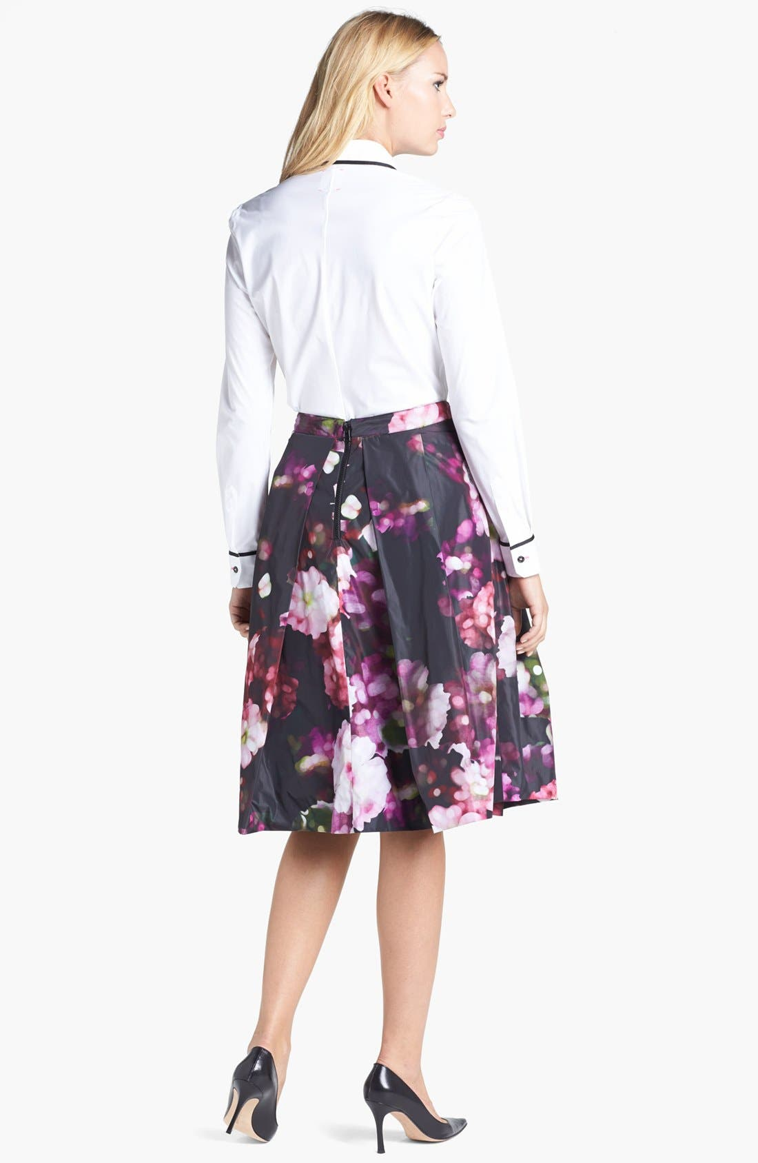 Floral Print Pleated Midi Skirt,                             Alternate thumbnail 6, color,                             540
