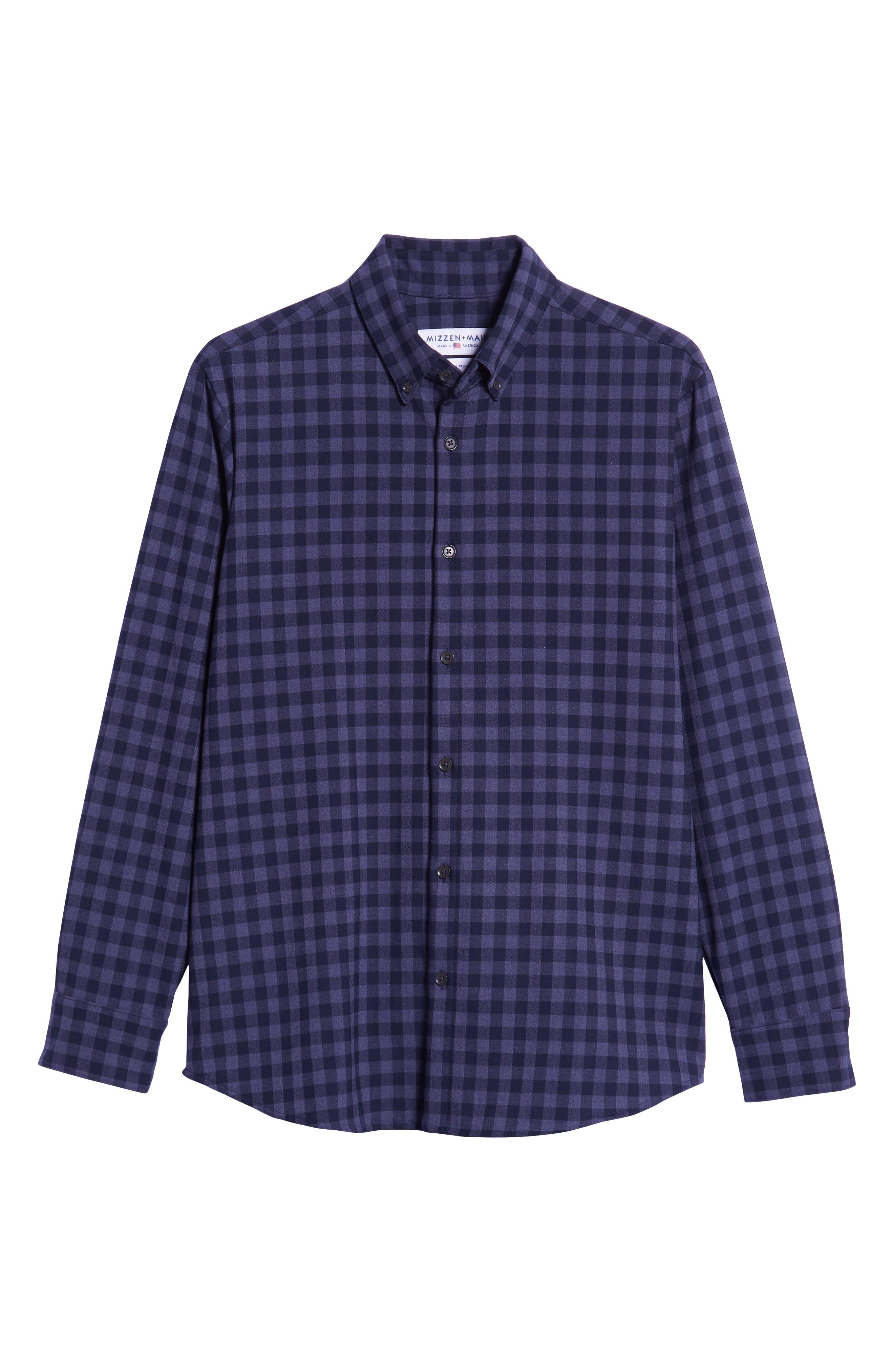 Palmetto Regular Fit Flannel Sport Shirt,                             Alternate thumbnail 5, color,                             NAVY