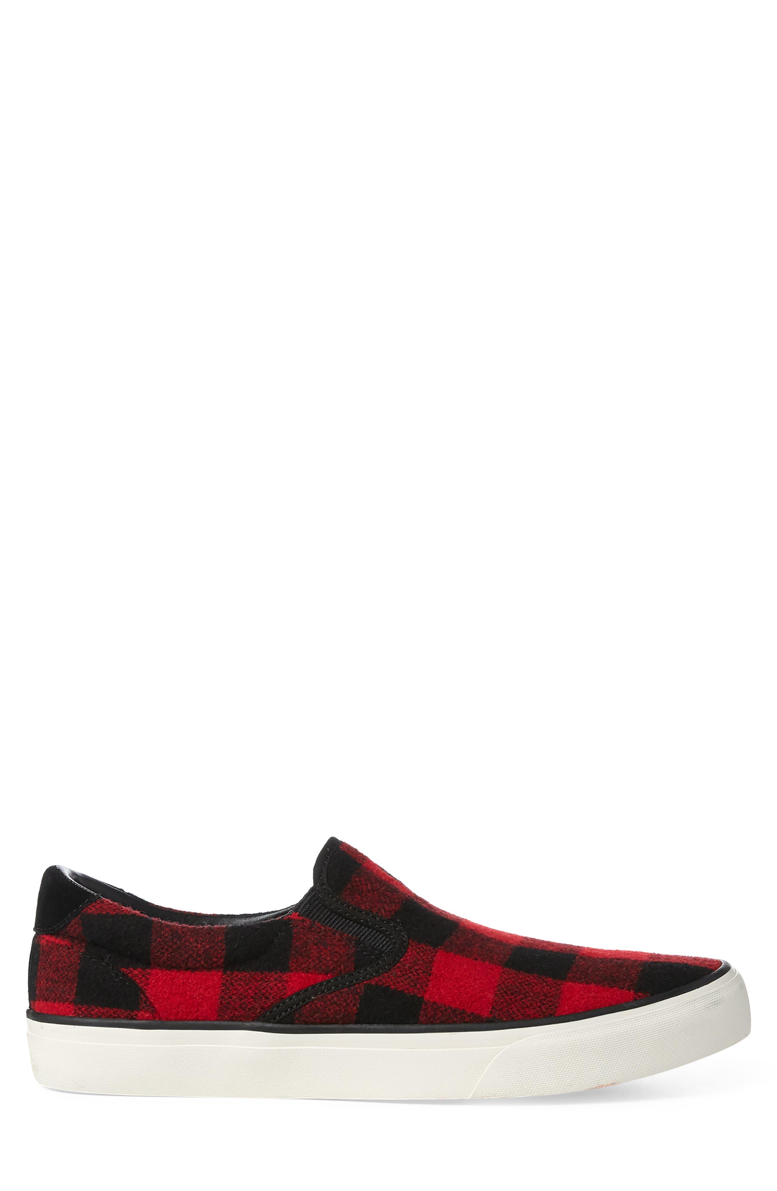 Thompson Wool Slip-On Sneaker,                             Alternate thumbnail 2, color,                             BLACK / RED