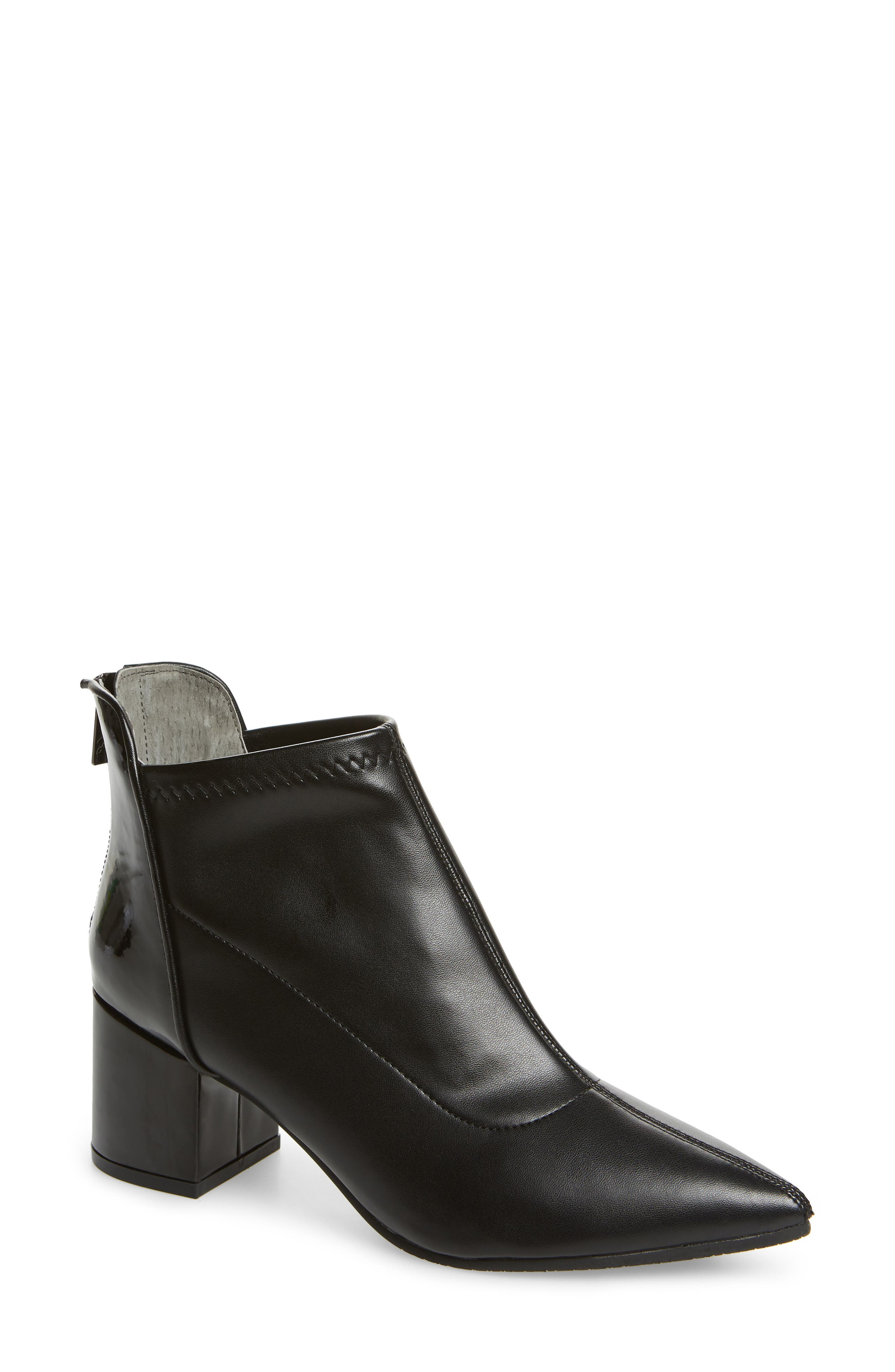 ADRIANNA PAPELL Honey Pointy Toe Stretch Bootie in Black Stretch