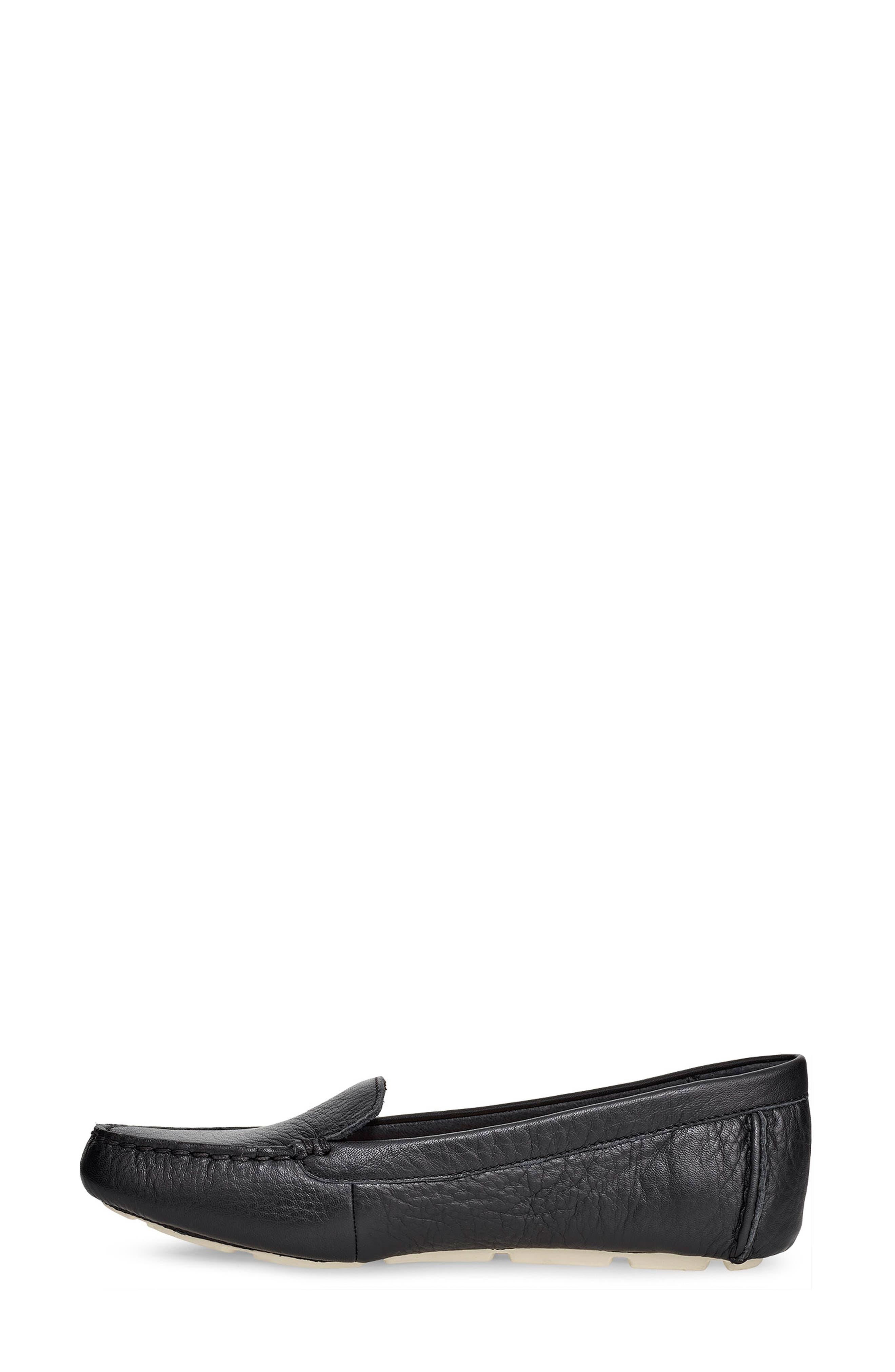 Flores Driving Loafer,                             Alternate thumbnail 6, color,                             BLACK LEATHER