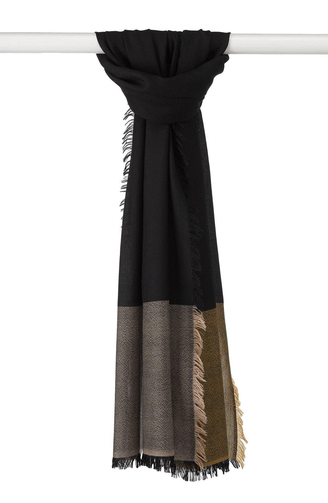 'Eyelash' Colorblock Cashmere Wrap, Main, color, 001