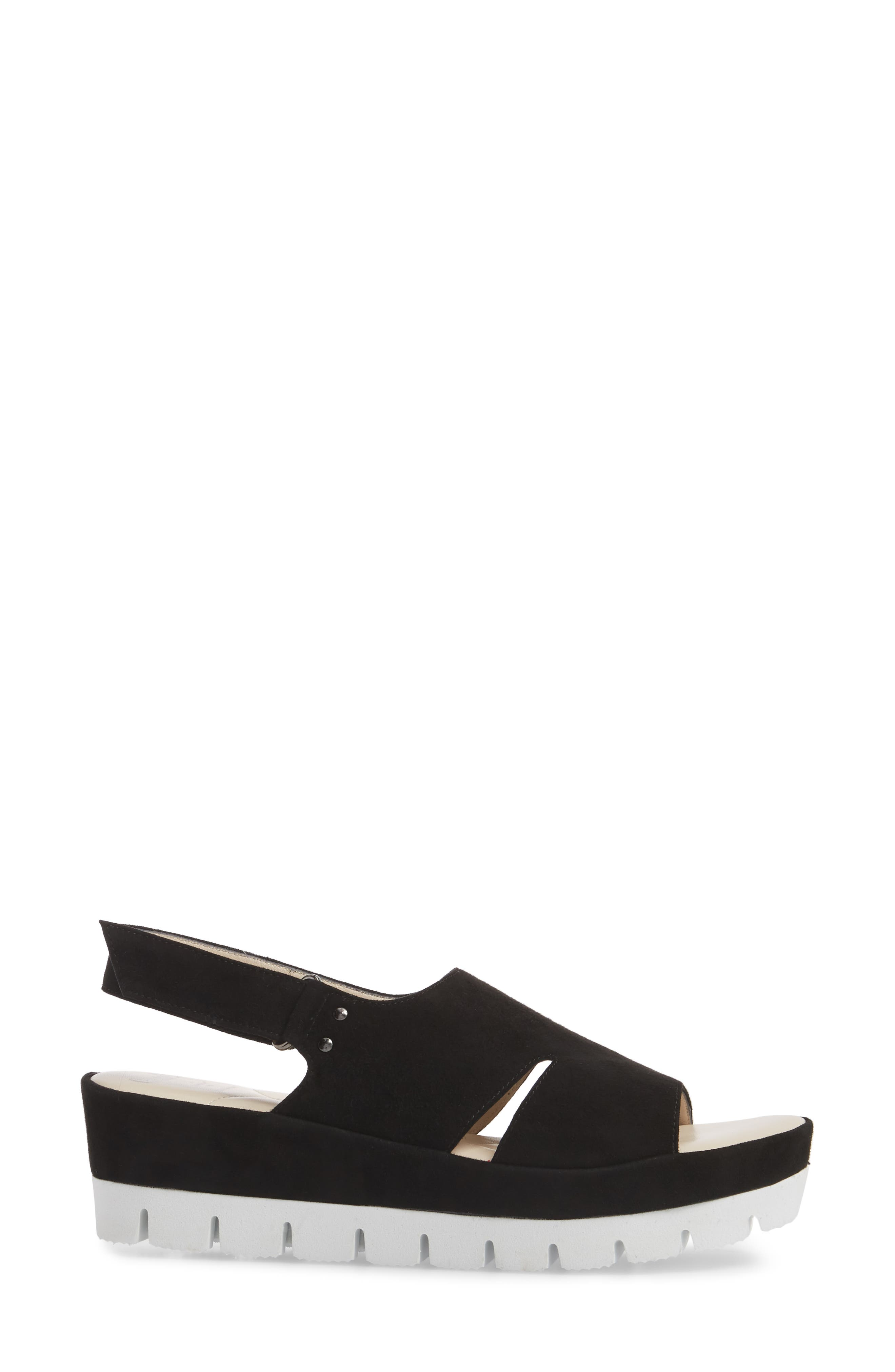 Bergamotto Slingback Wedge Sandal,                             Alternate thumbnail 3, color,                             BLACK SUEDE