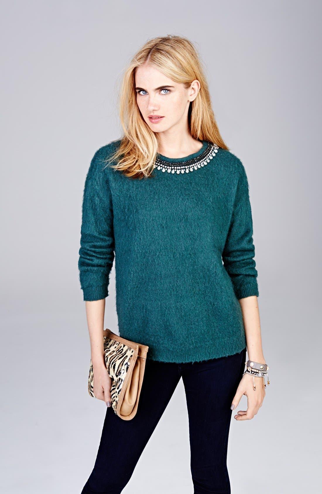 Jewel Neck Textured Sweater,                             Alternate thumbnail 4, color,                             020