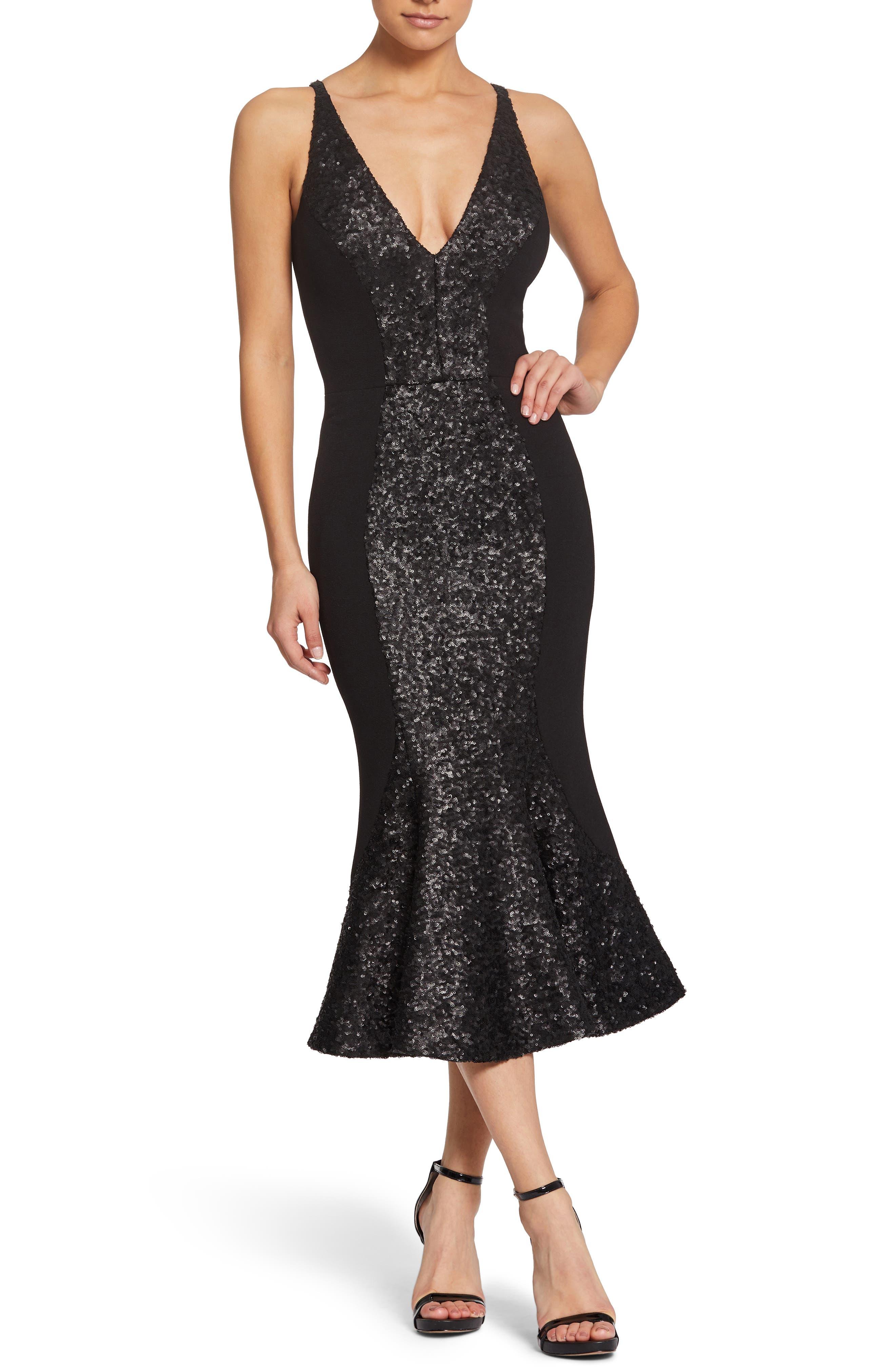 1950s Cocktail Dresses, Party Dresses Womens Dress The Population Kyle Embellished Midi Dress Size Medium - Black $288.00 AT vintagedancer.com