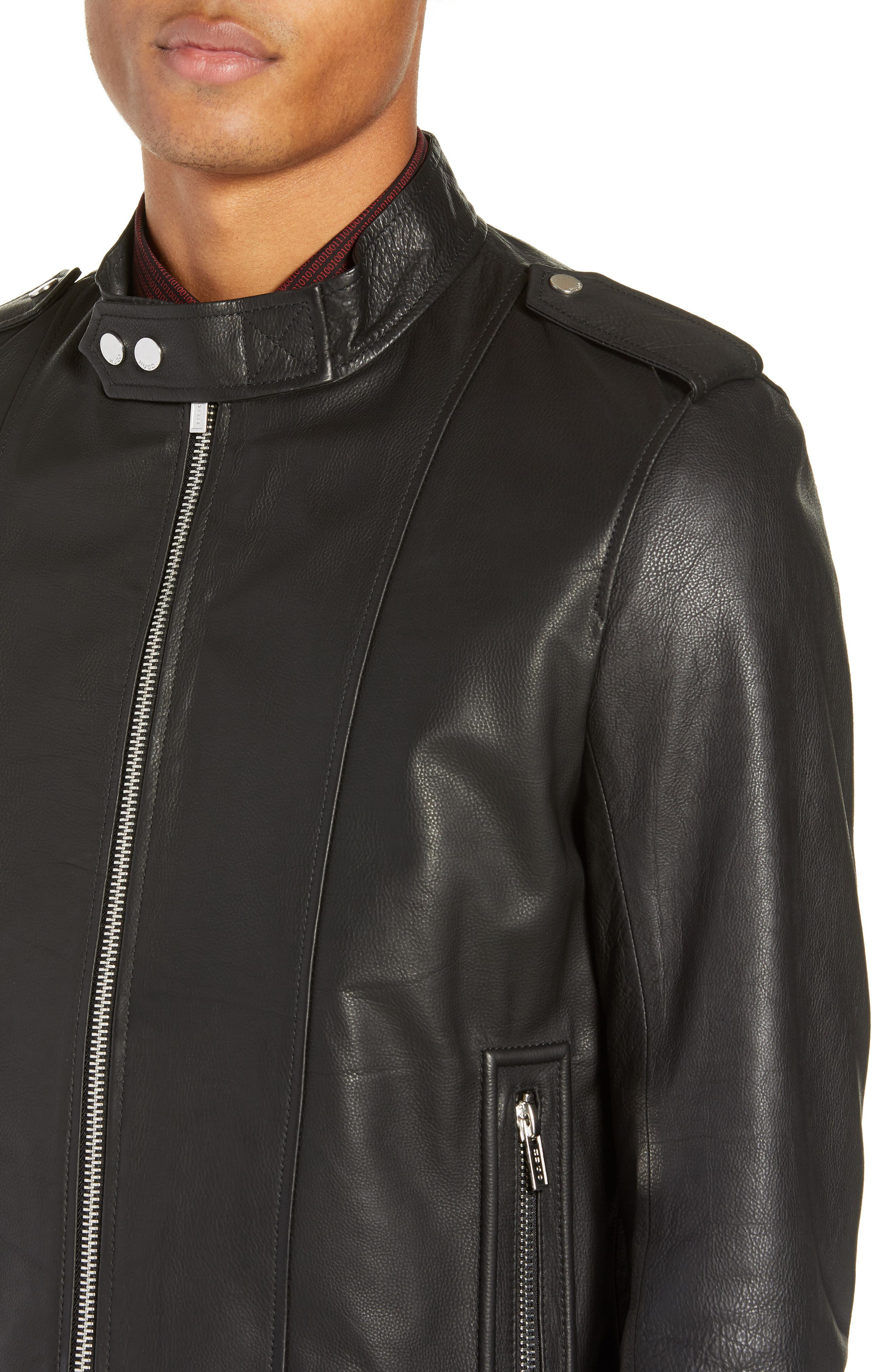 Lector Slim Leather Jacket,                             Alternate thumbnail 4, color,                             BLACK