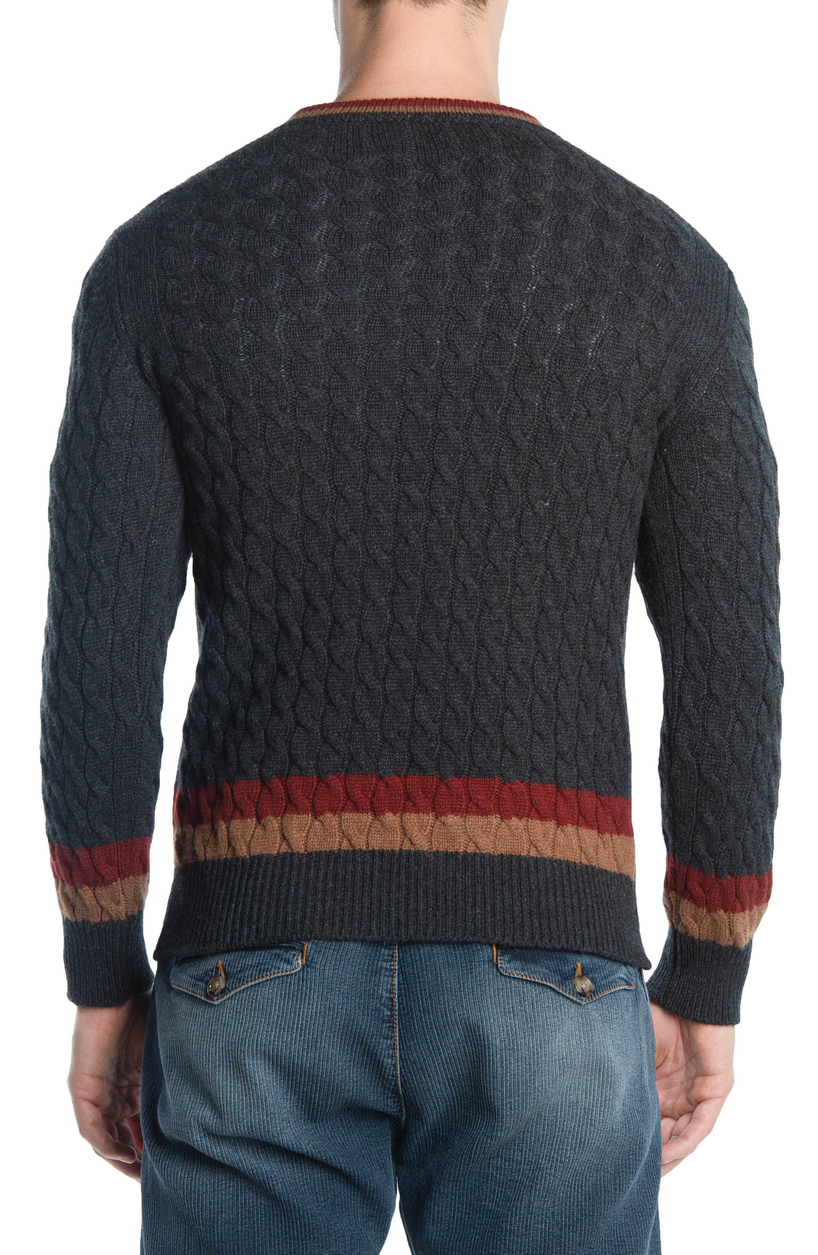 Cableknit Cashmere V-Neck Sweater,                             Alternate thumbnail 2, color,                             DARK GREY