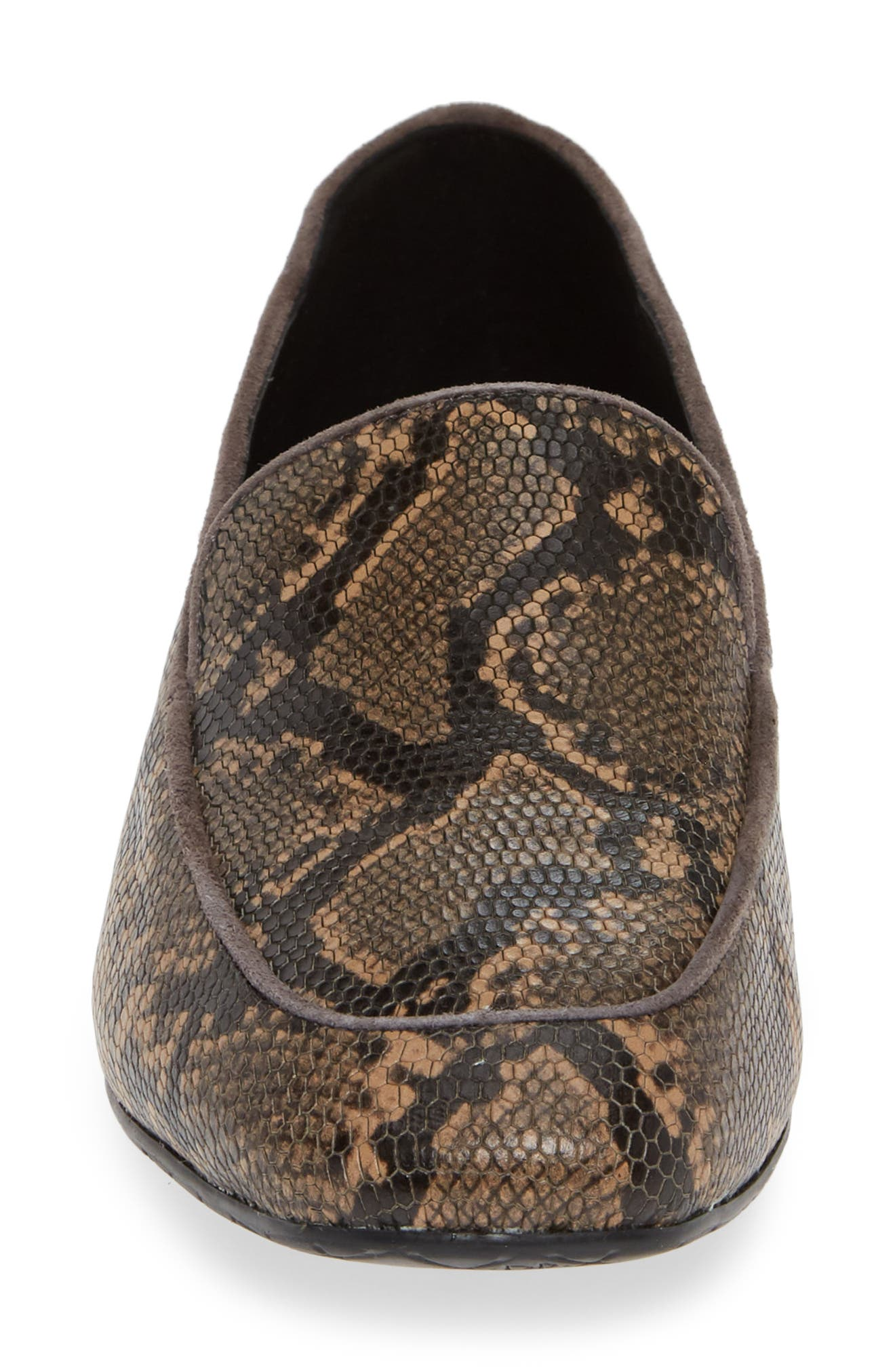 Heddy Loafer,                             Alternate thumbnail 4, color,                             DARK TAUPE PRINT LEATHER