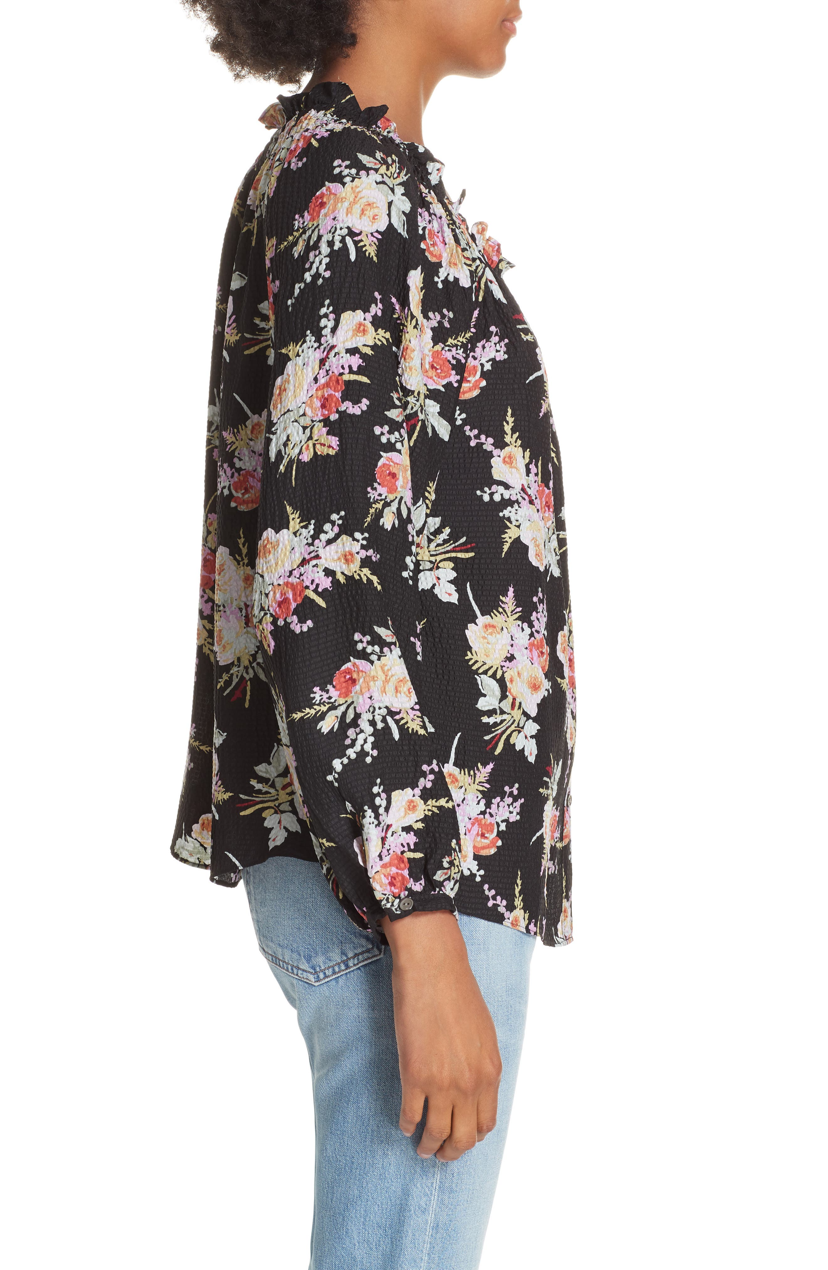 Floral Silk Blouse,                             Alternate thumbnail 3, color,                             BLACK COMBO