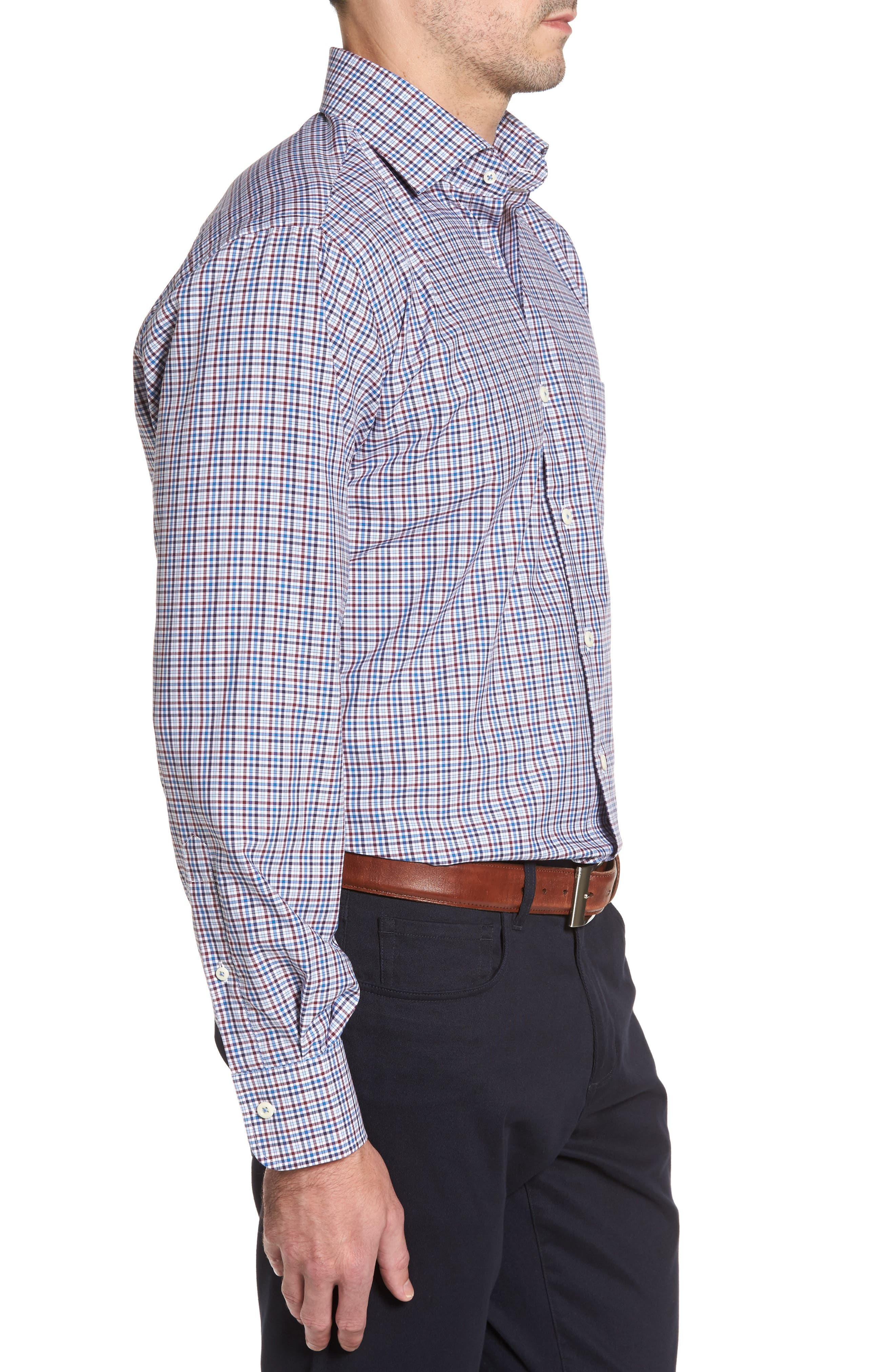Crown Finish Vine Check Regular Fit Sport Shirt,                             Alternate thumbnail 3, color,