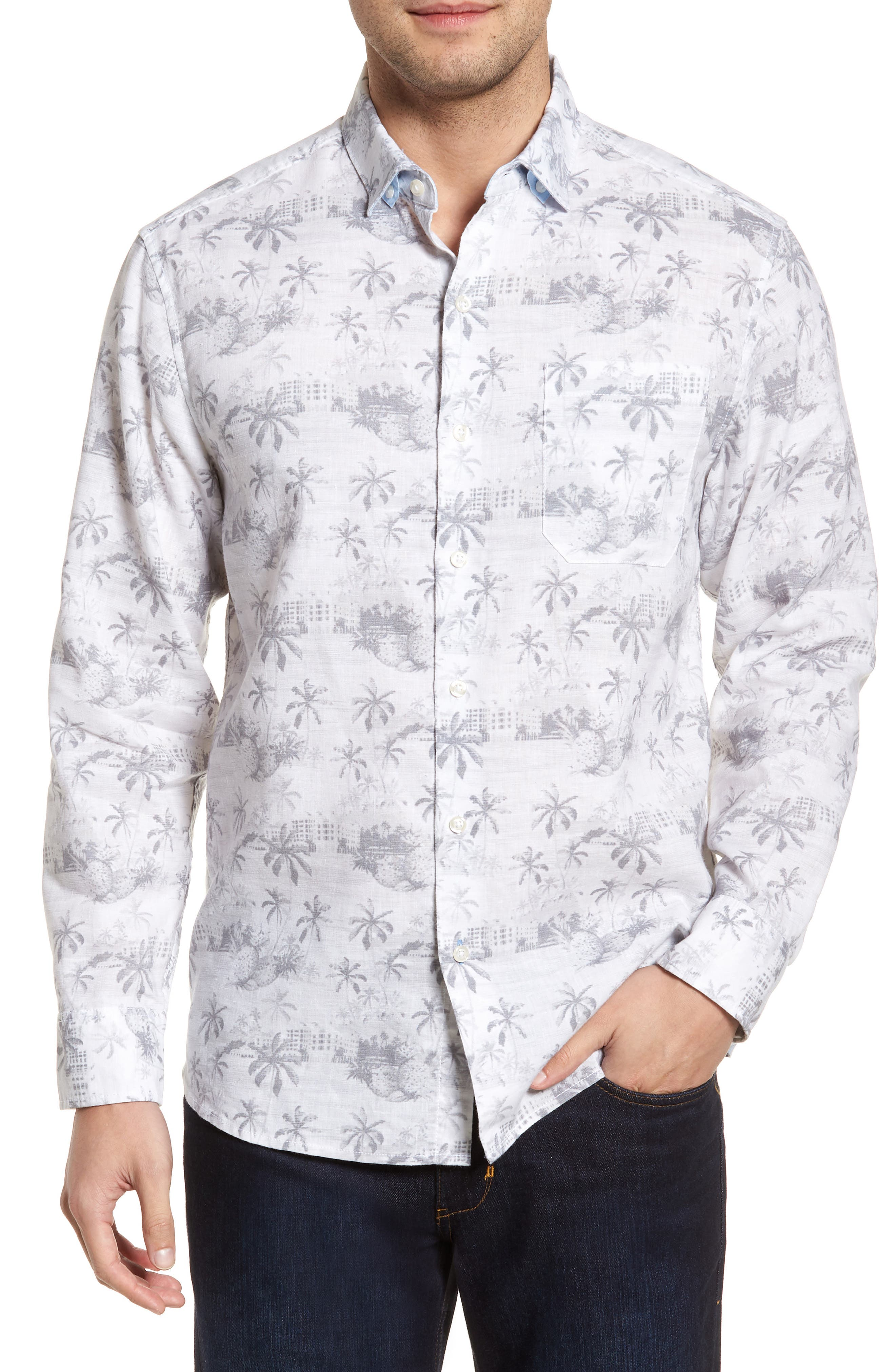 Tropical Toile Sport Shirt,                             Main thumbnail 1, color,                             050