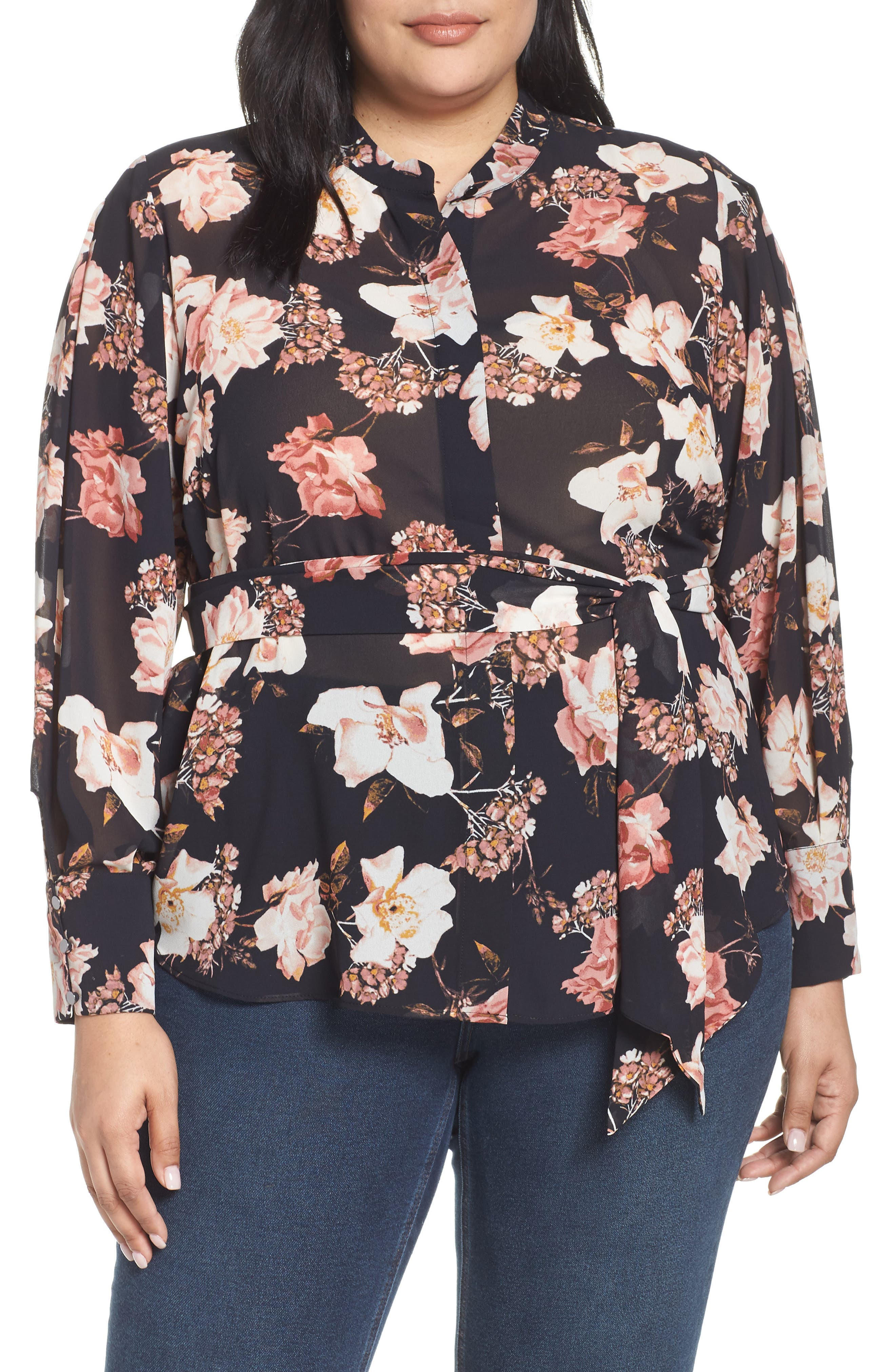 RACHEL ROY COLLECTION,                             Floral Tie Blouse,                             Main thumbnail 1, color,                             BLACK COMBO
