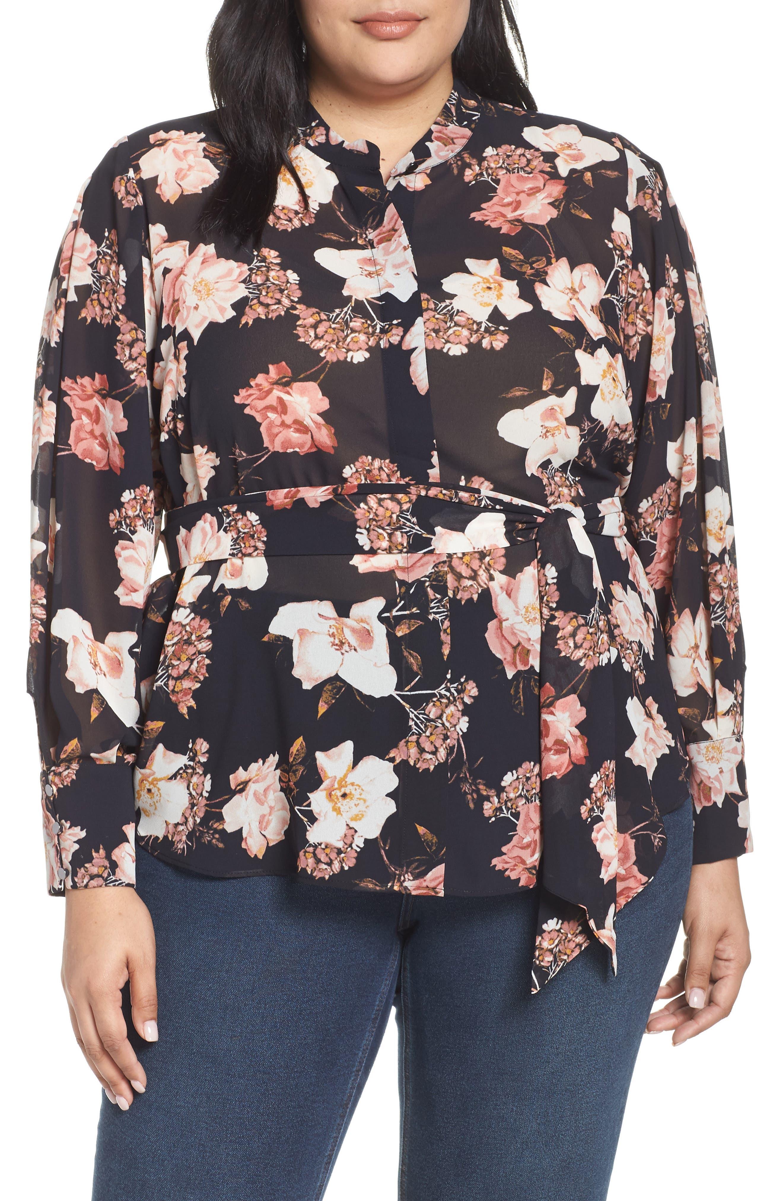 RACHEL ROY COLLECTION Floral Tie Blouse, Main, color, BLACK COMBO