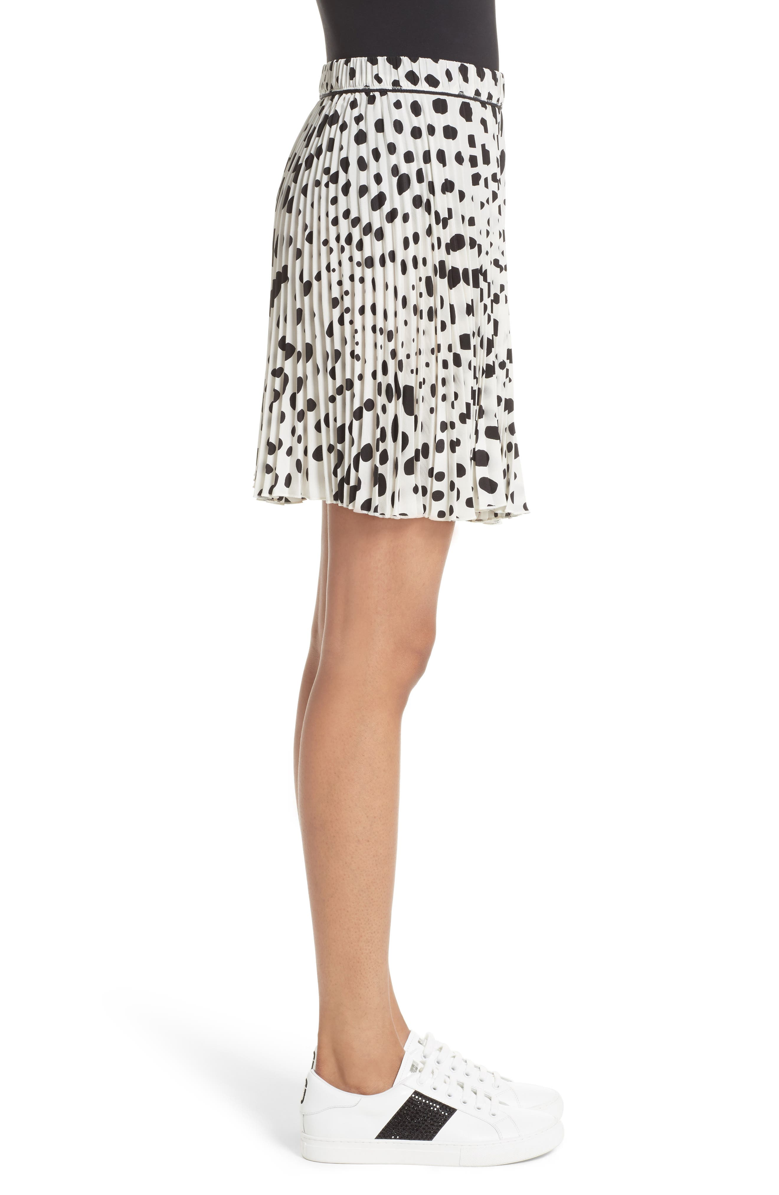 Pleated Polka Dot Silk Skirt,                             Alternate thumbnail 3, color,                             160