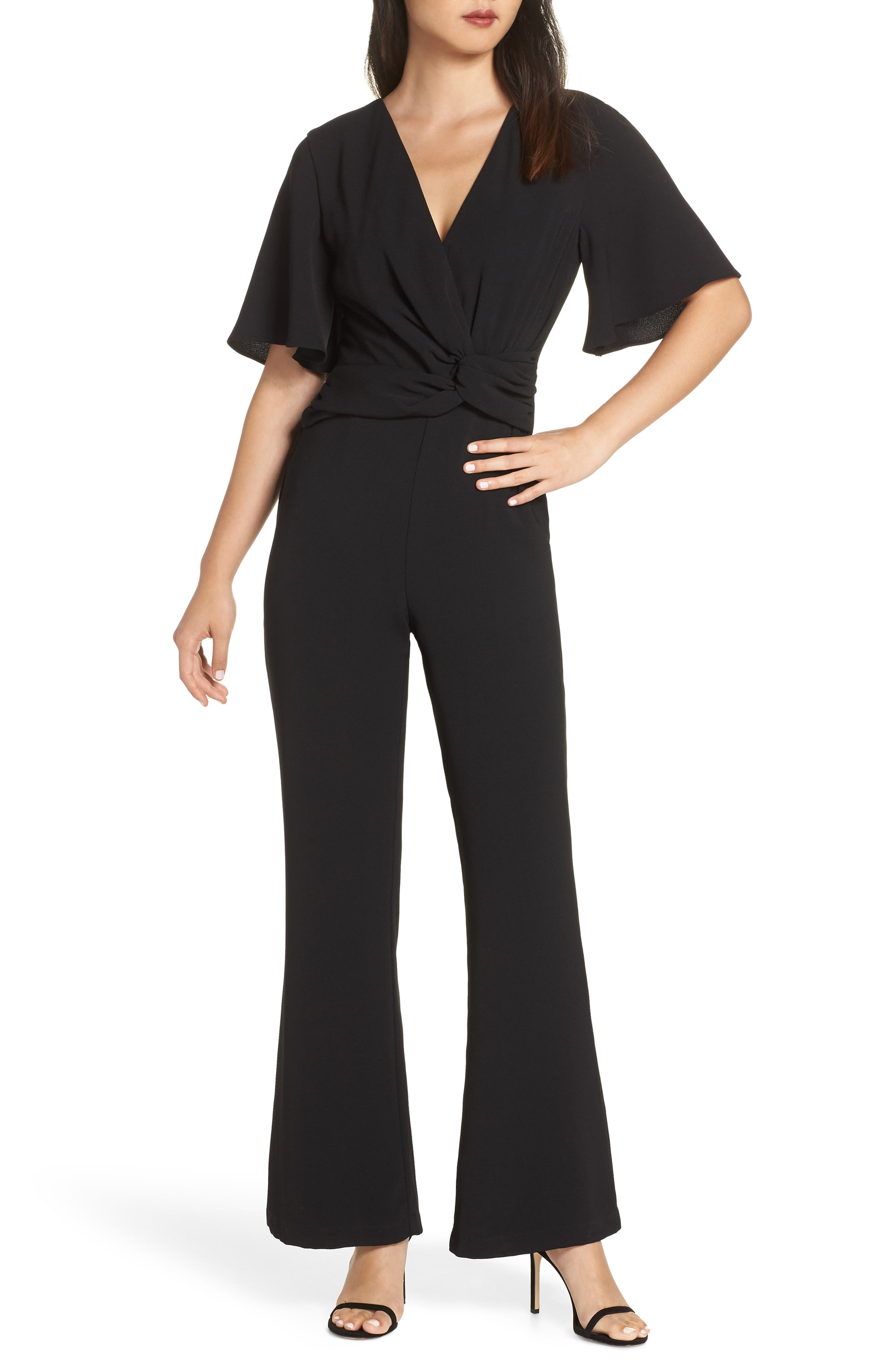 HARLYN Twist Front Jumpsuit in Black
