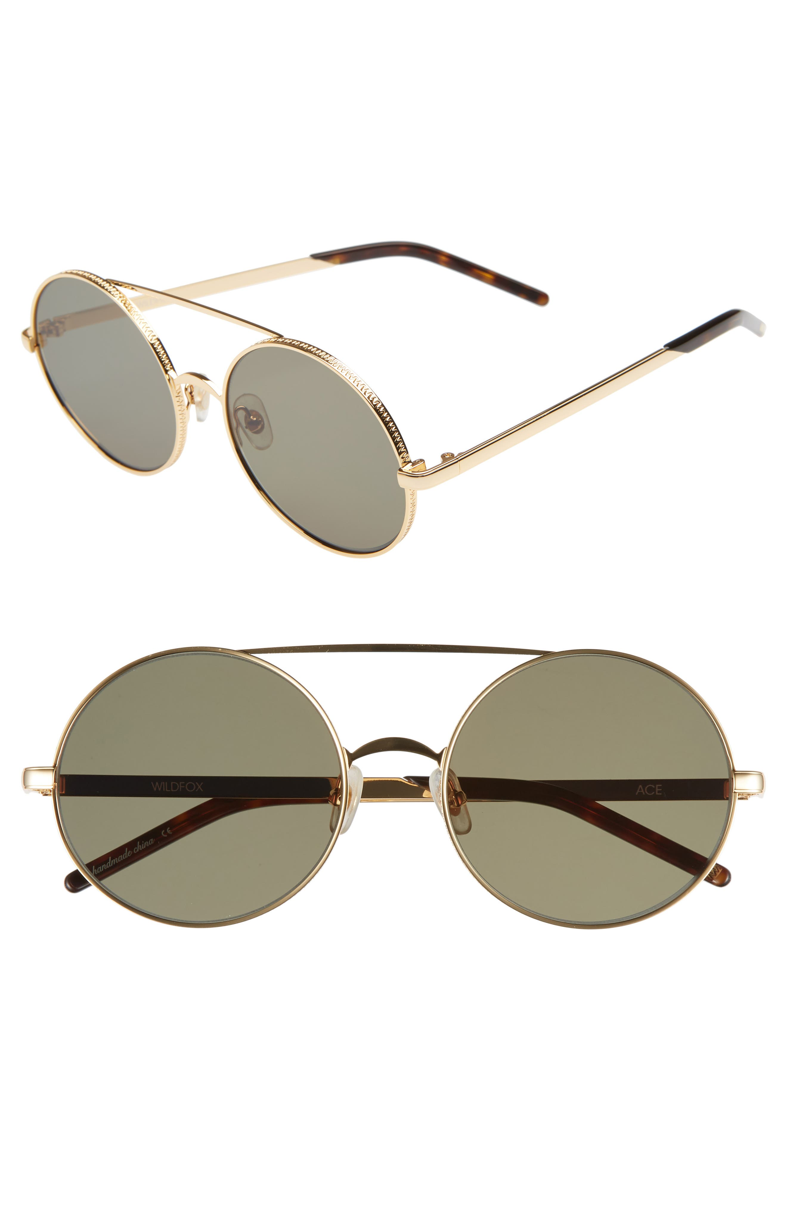Ace 55mm Round Sunglasses,                         Main,                         color, GOLD/ G 15 SOLID
