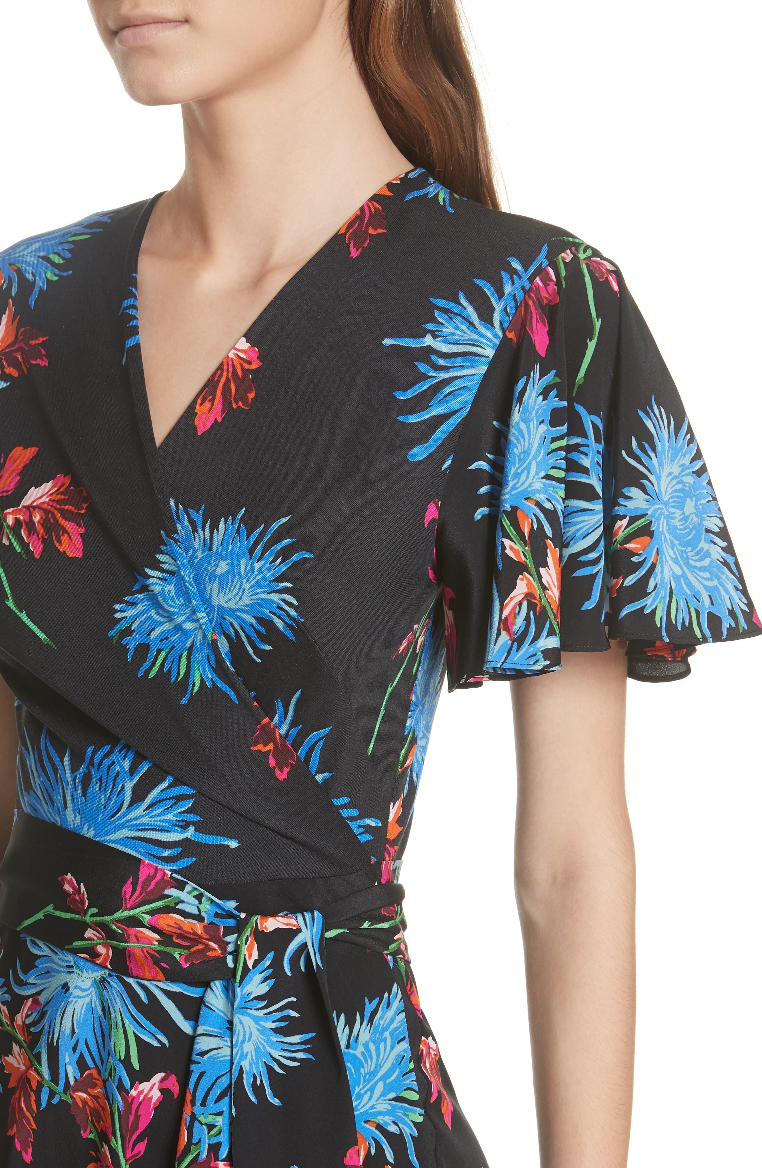 Diane von Furstenberg Flutter Sleeve Silk Wrap Dress,                             Alternate thumbnail 4, color,                             HEWES BLACK