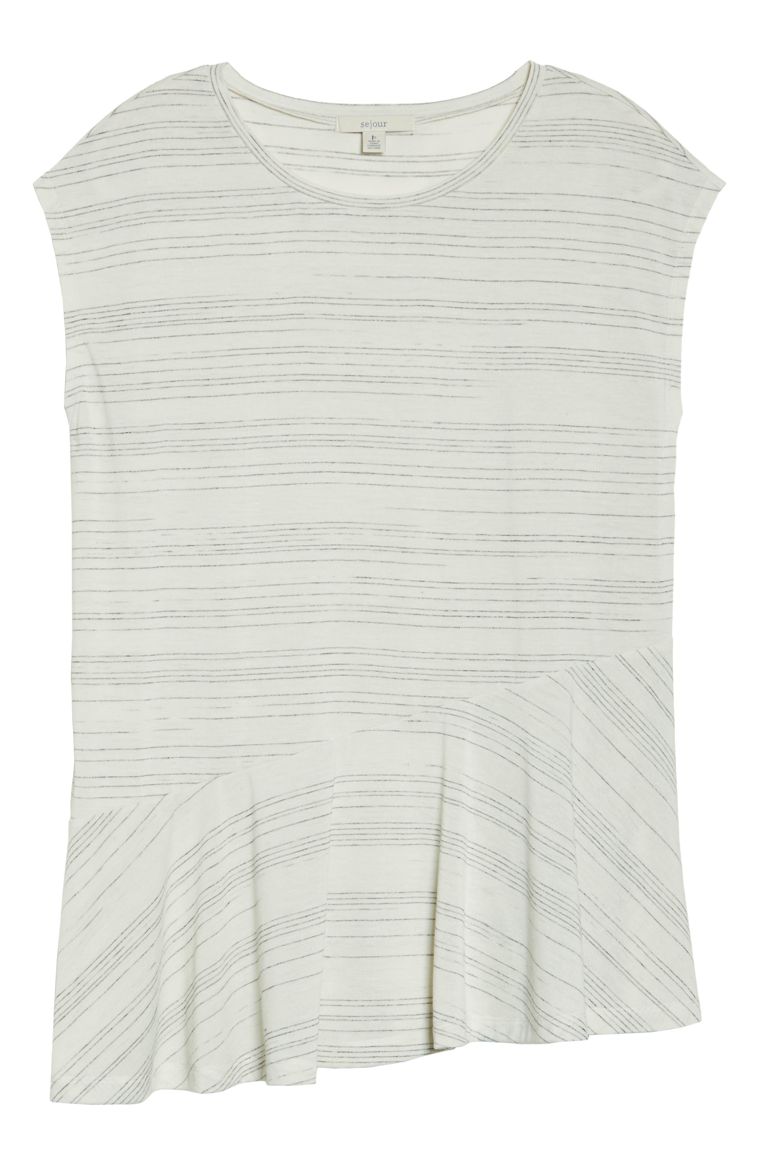 Cap Sleeve Asymmetrical Tee,                             Alternate thumbnail 6, color,                             900